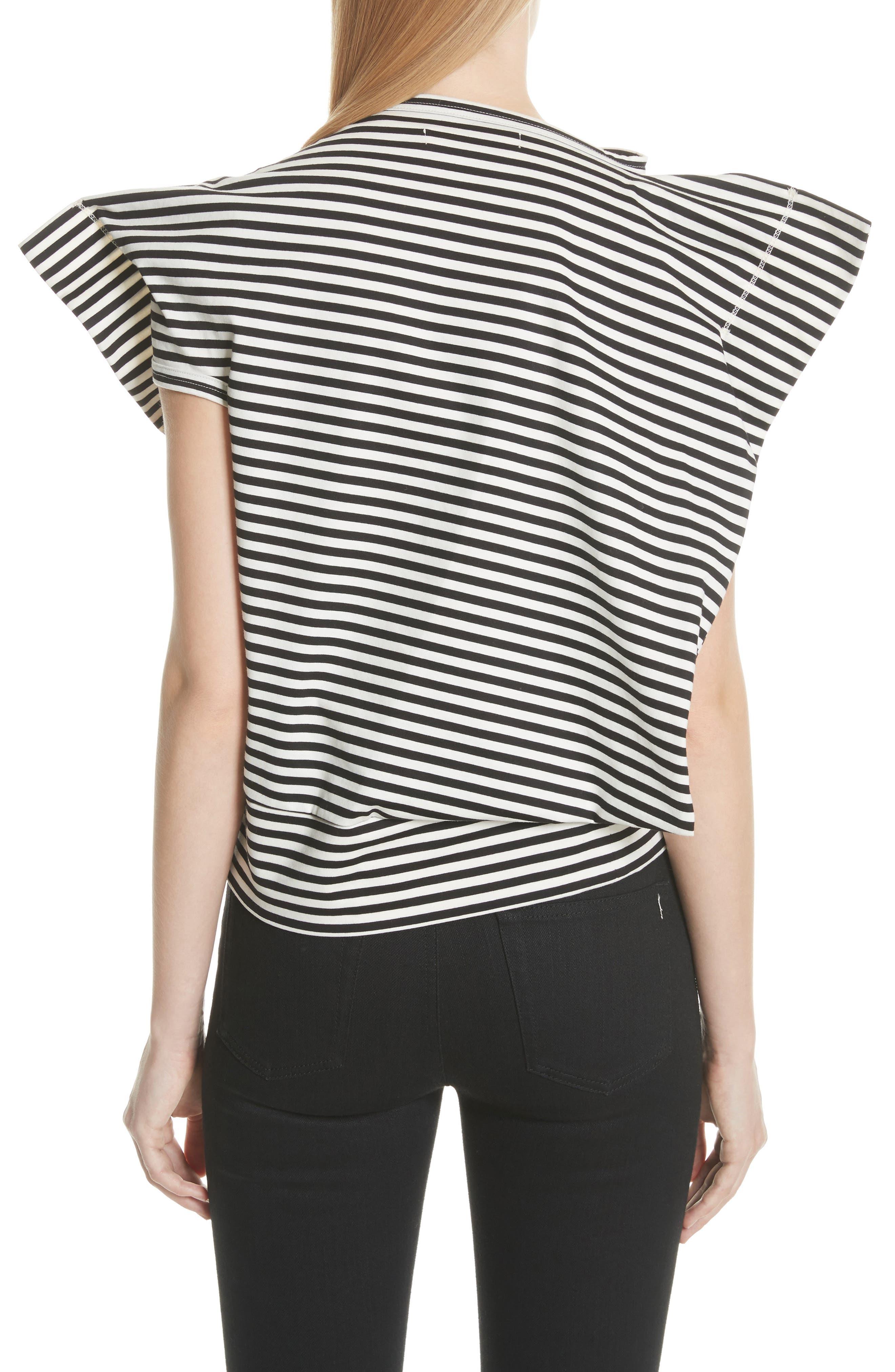 Stripe Top,                             Alternate thumbnail 2, color,                             Black/ Off White