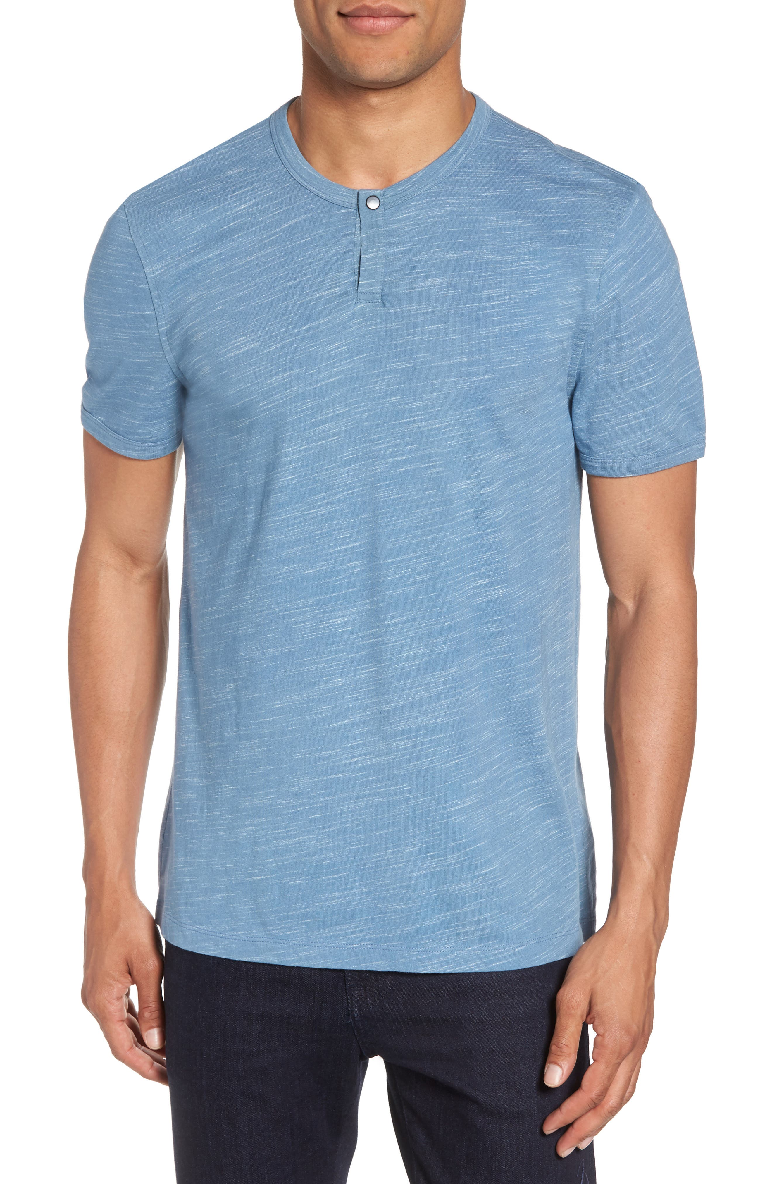 Space Dyed One-Button Henley T-Shirt,                         Main,                         color, Blue Lake Spacedye