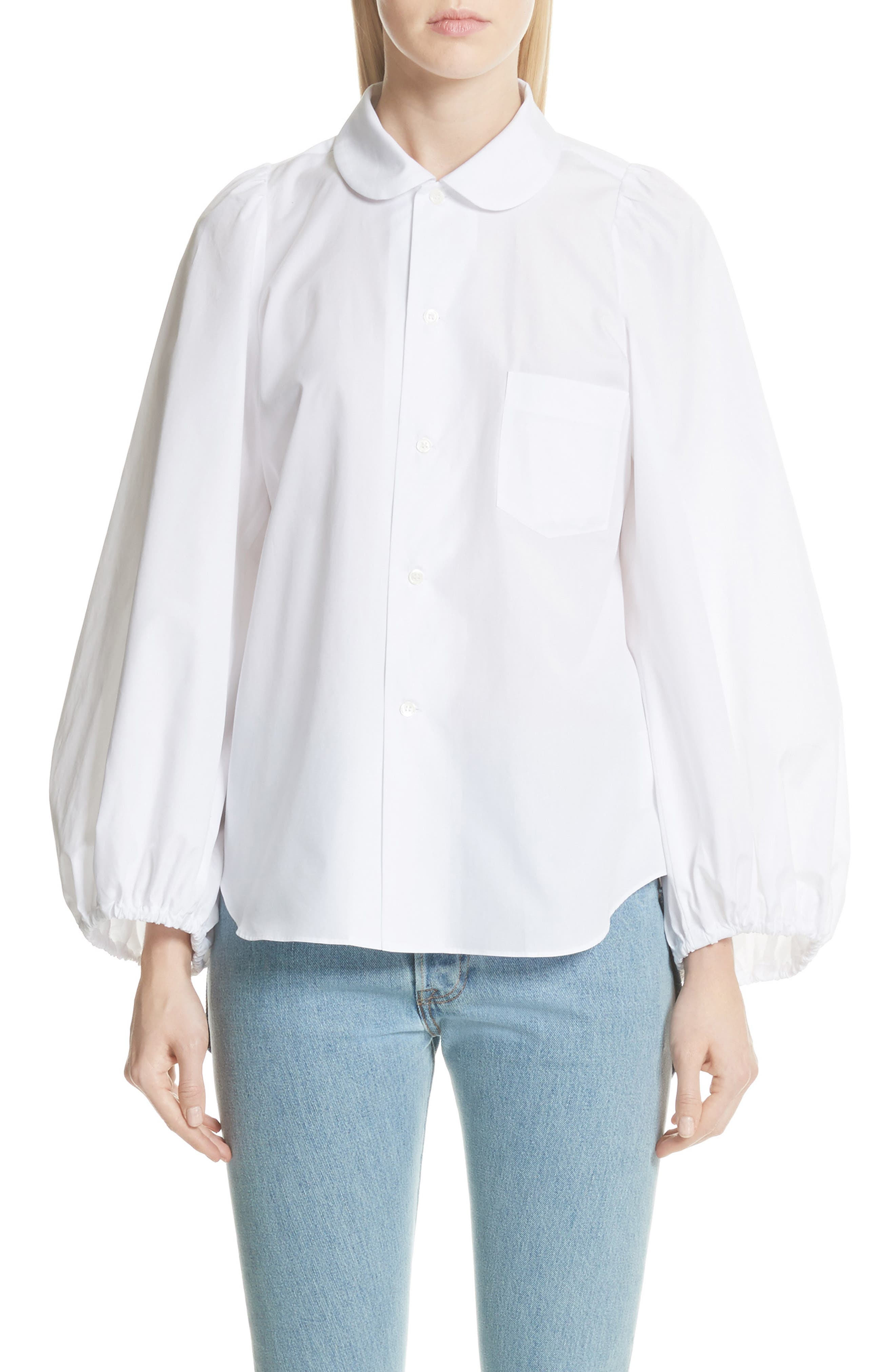 Balloon Sleeve Blouse,                         Main,                         color, White