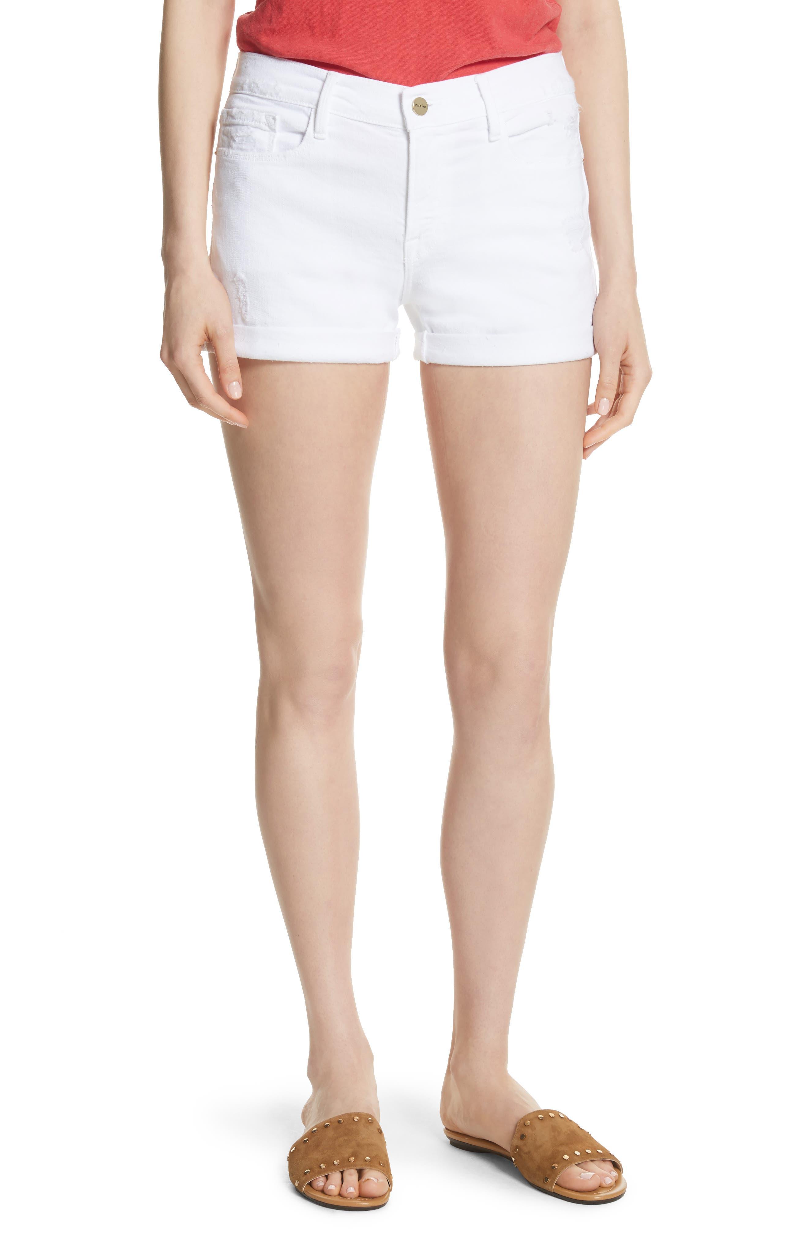 FRAME Le Cutoff Cuffed Jean Shorts (Blanc)