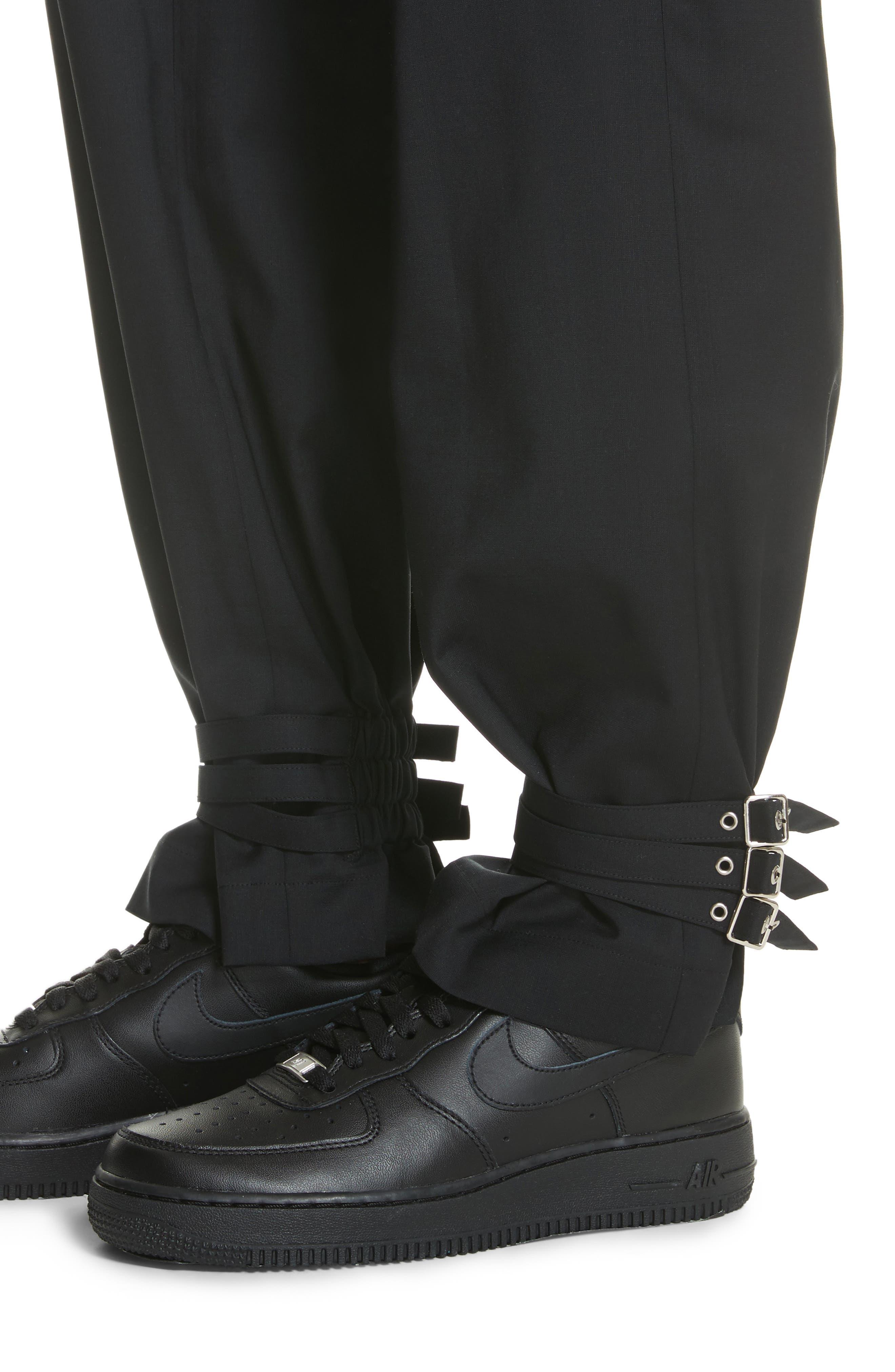 Adjustable Hem Wool & Silk Pants,                             Alternate thumbnail 5, color,                             Black