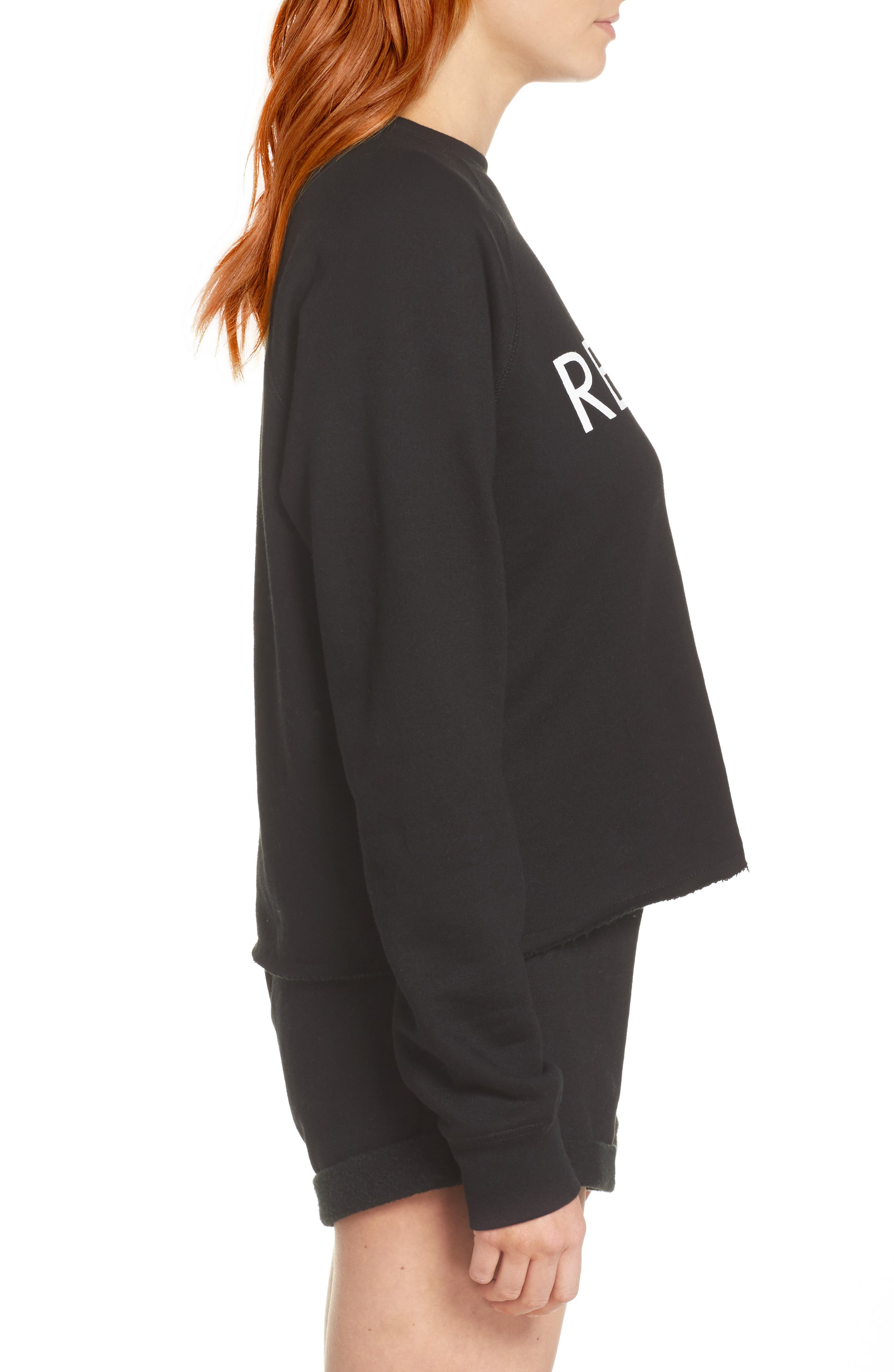 Redhead Raw Hem Sweatshirt,                             Alternate thumbnail 3, color,                             Black