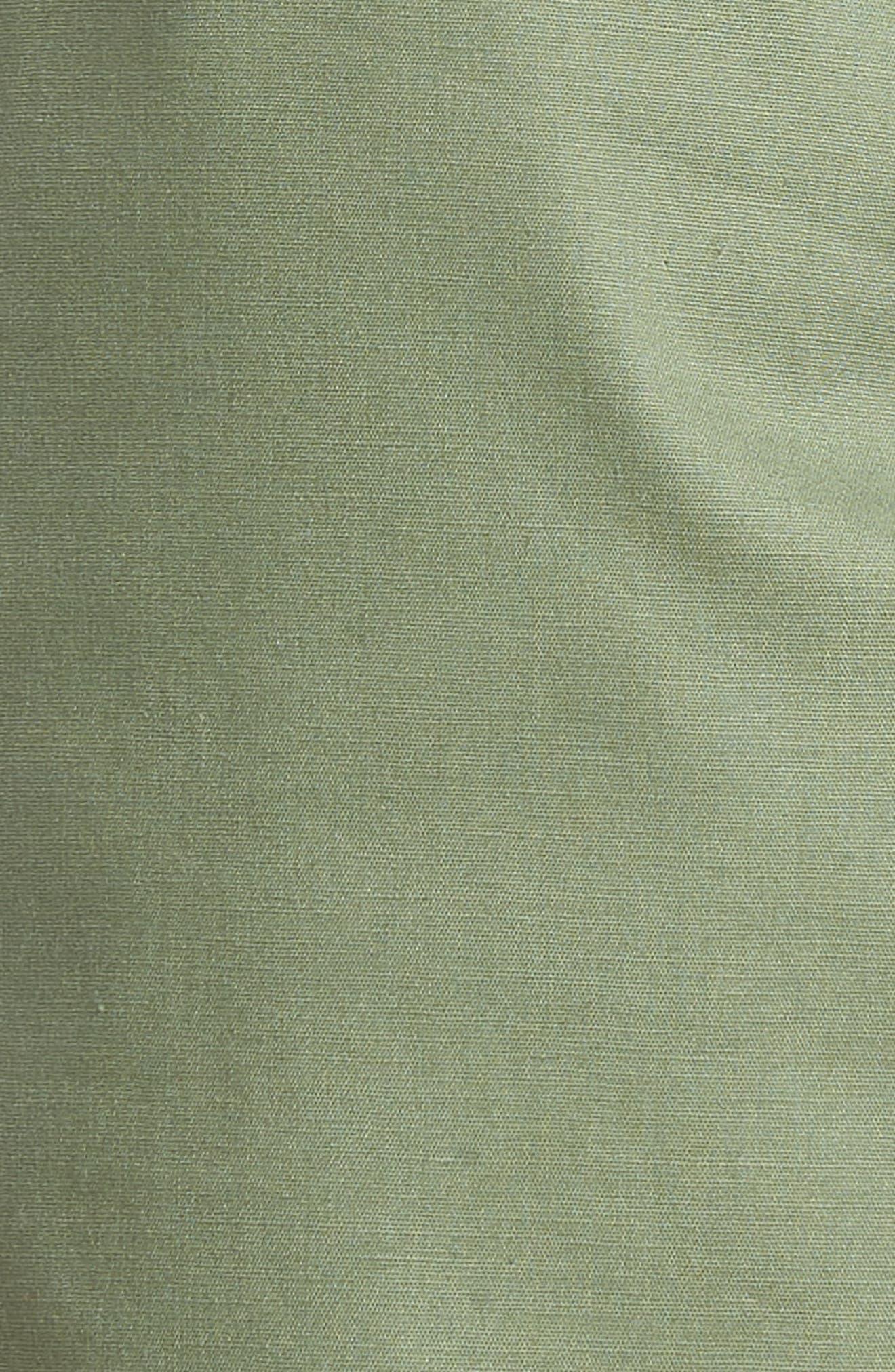 Tie Waist Scallop Hem Shorts,                             Alternate thumbnail 5, color,                             Green Bronze
