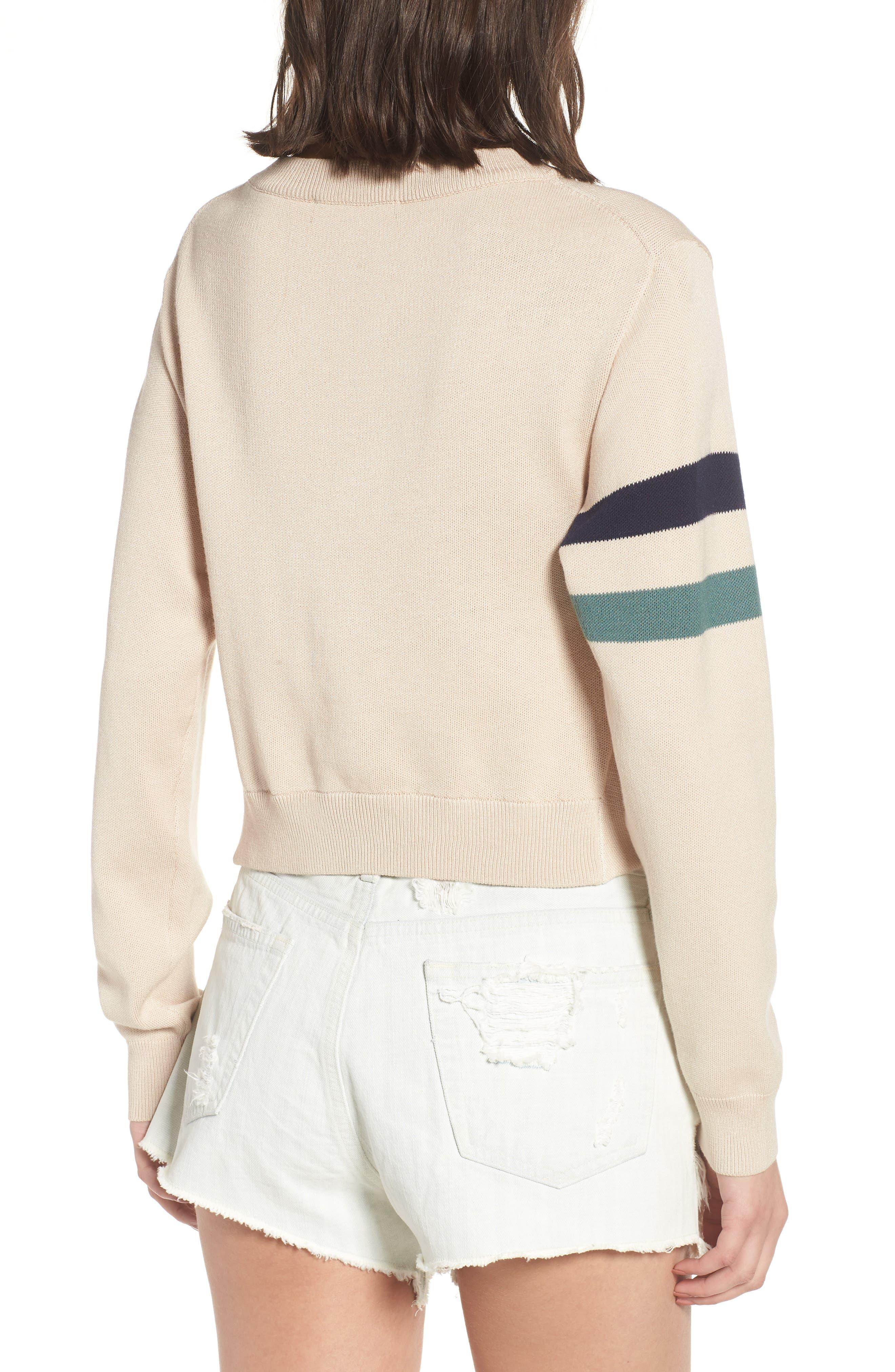 Twist Front Stripe Sleeve Sweatshirt,                             Alternate thumbnail 2, color,                             Ivory