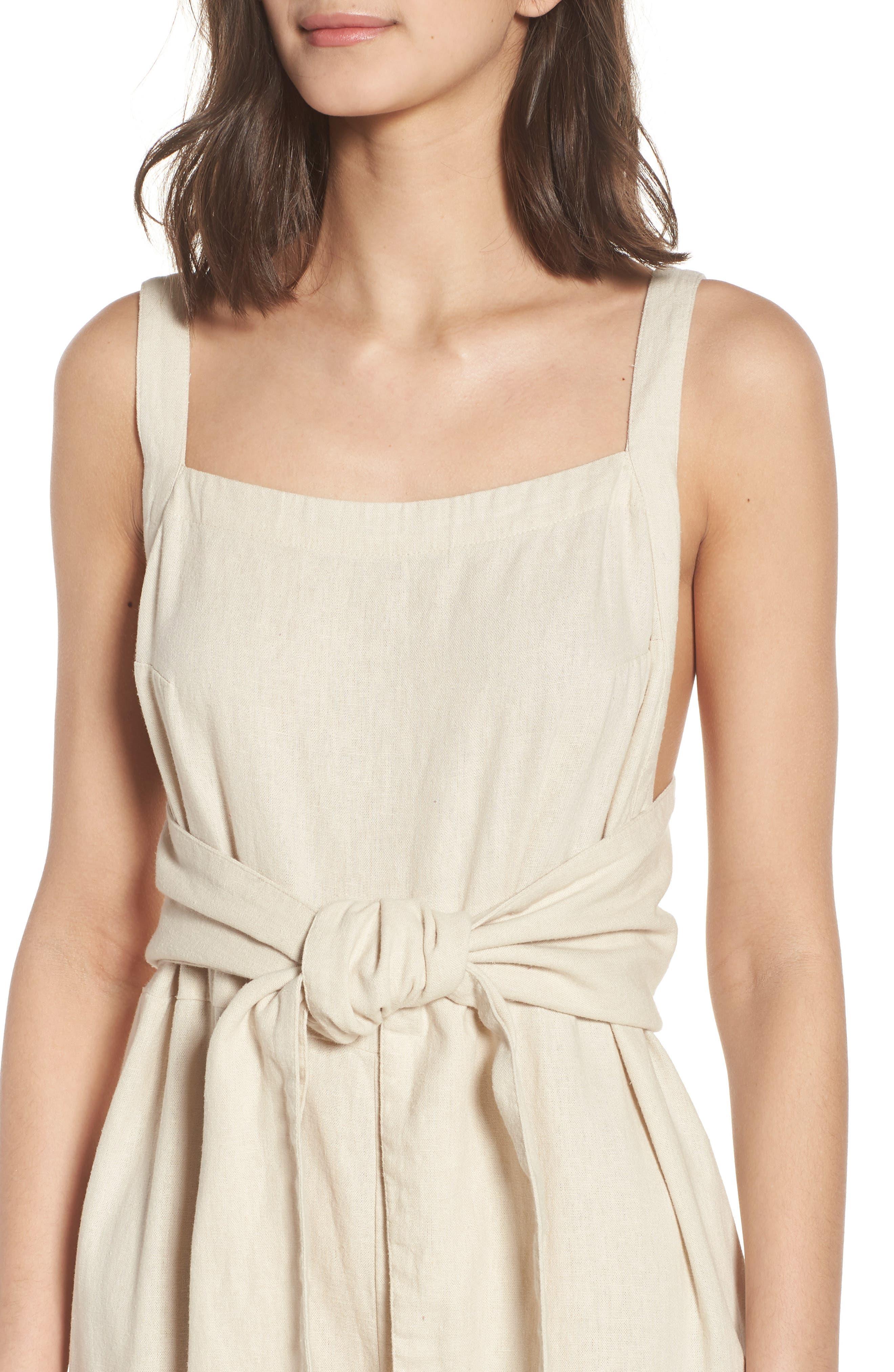 Linen Blend Tie Front Crop Jumpsuit,                             Alternate thumbnail 4, color,                             Beige Beach