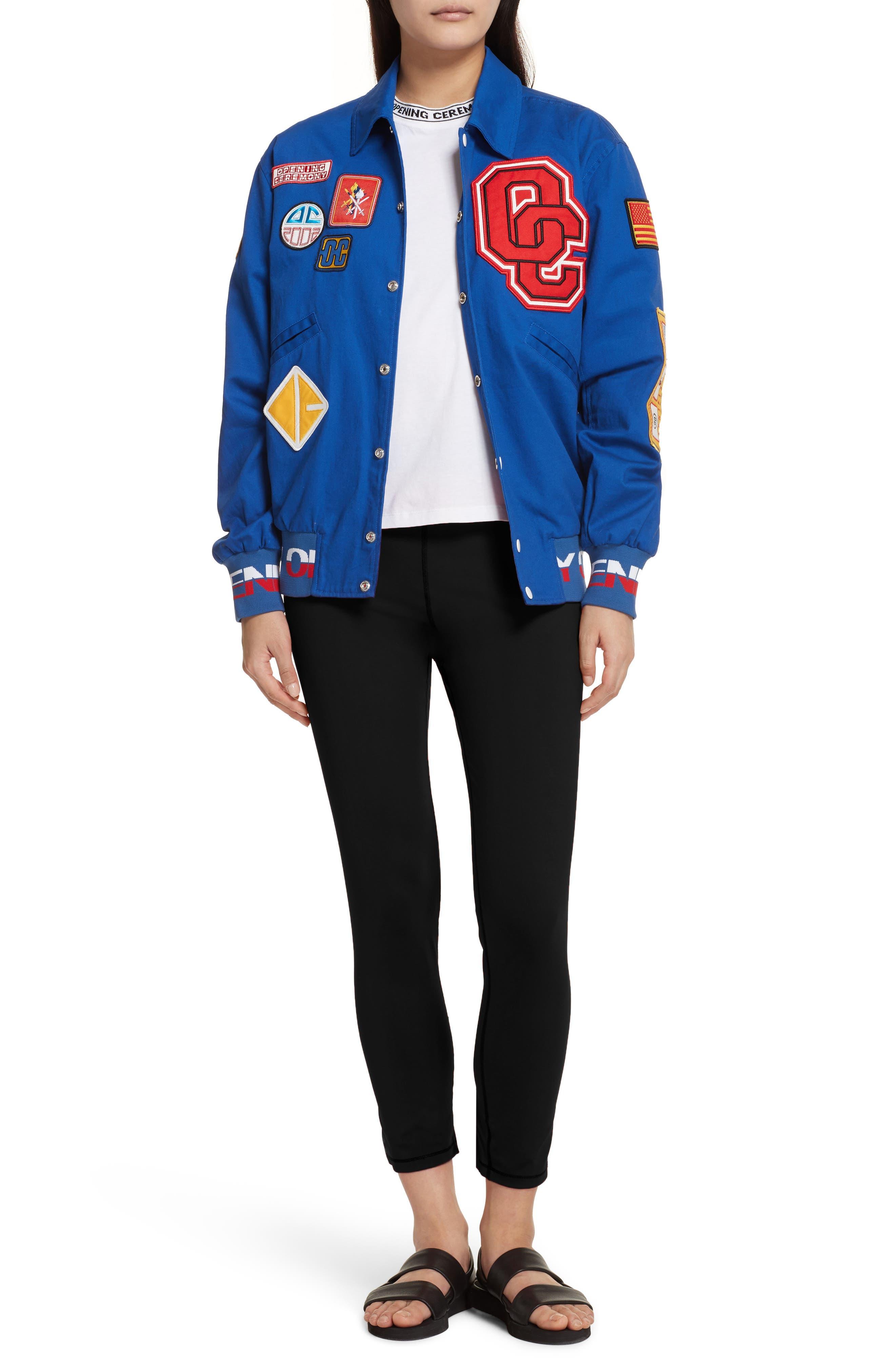 Patch Varsity Jacket,                             Alternate thumbnail 8, color,                             Railroad Blue