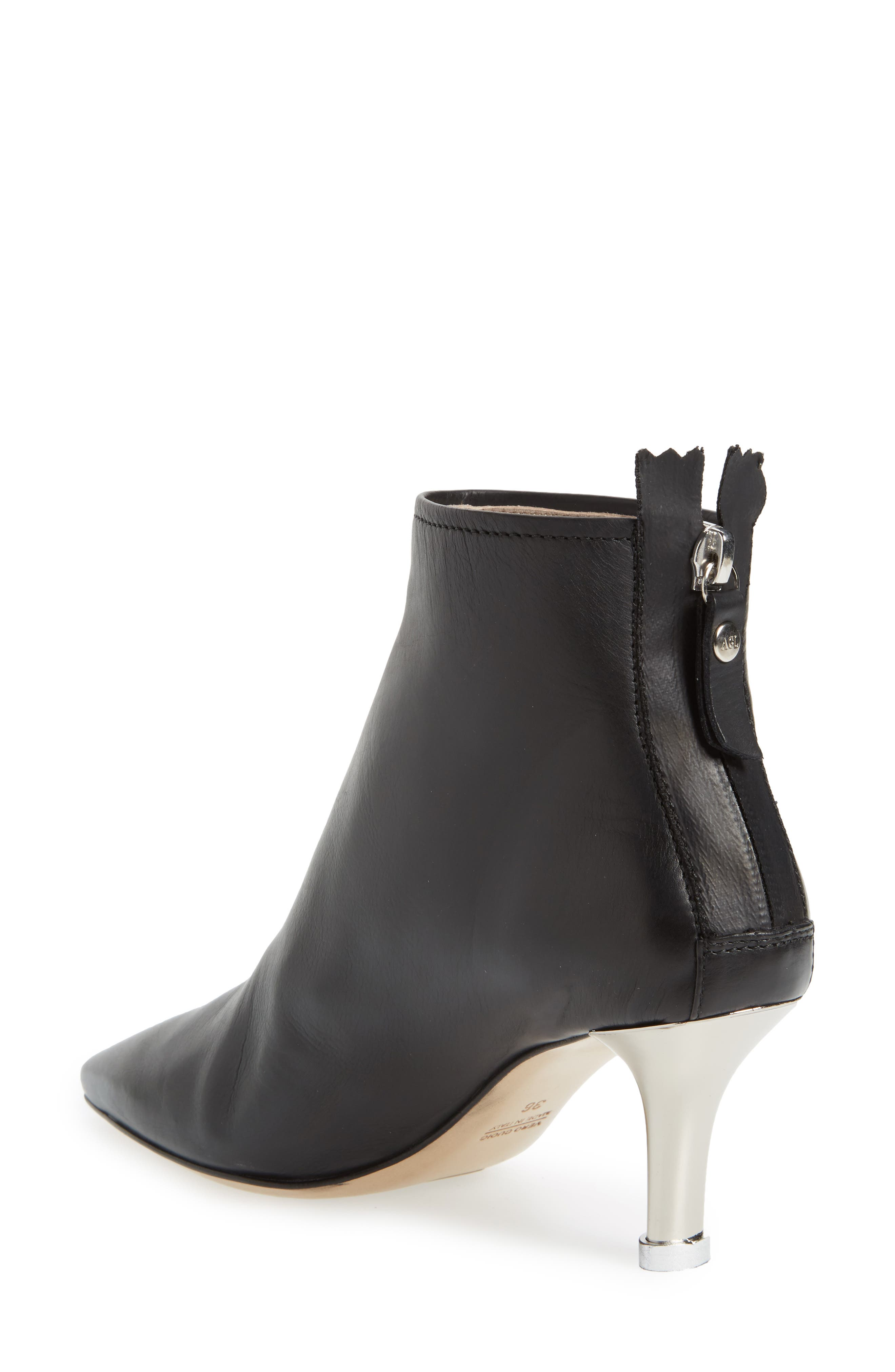 Pointy Toe Bootie,                             Alternate thumbnail 2, color,                             Black Leather
