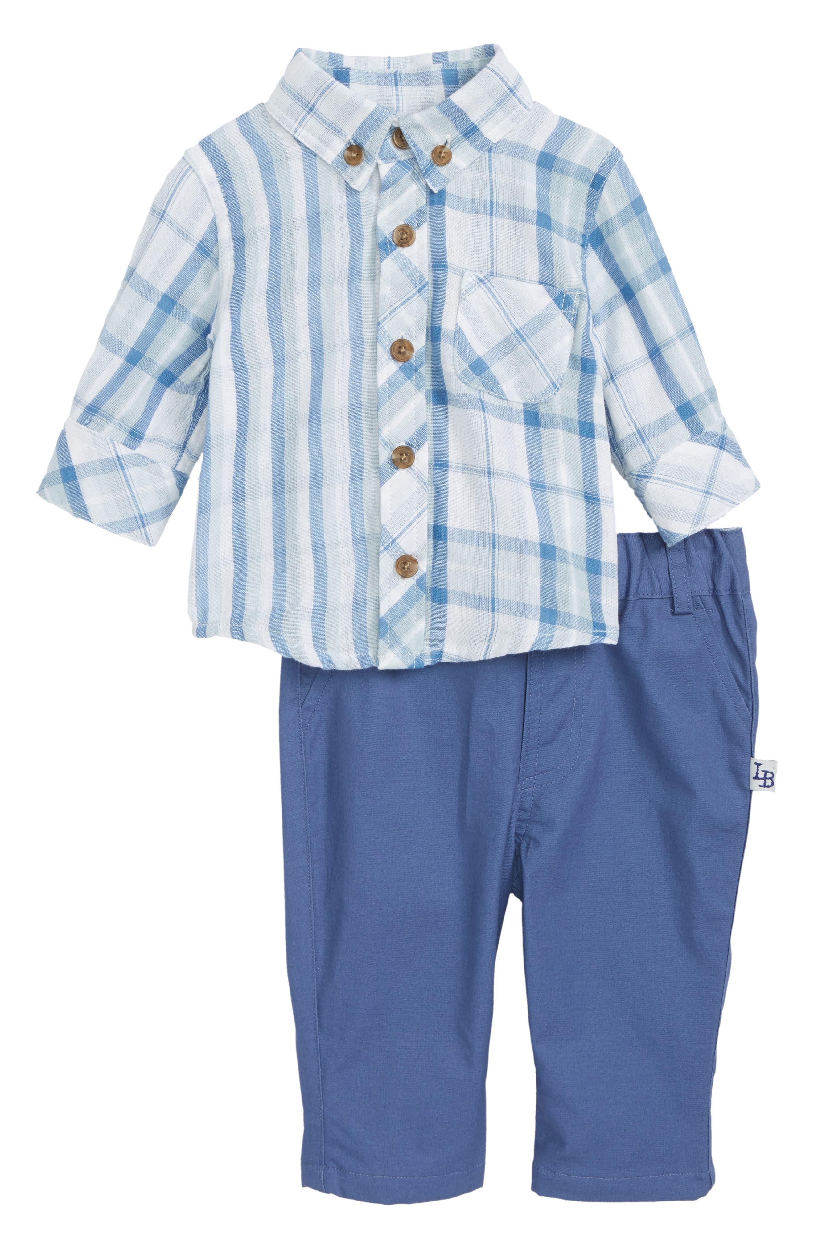 Mixed Plaid Top & Pants Set,                             Main thumbnail 1, color,                             Blue