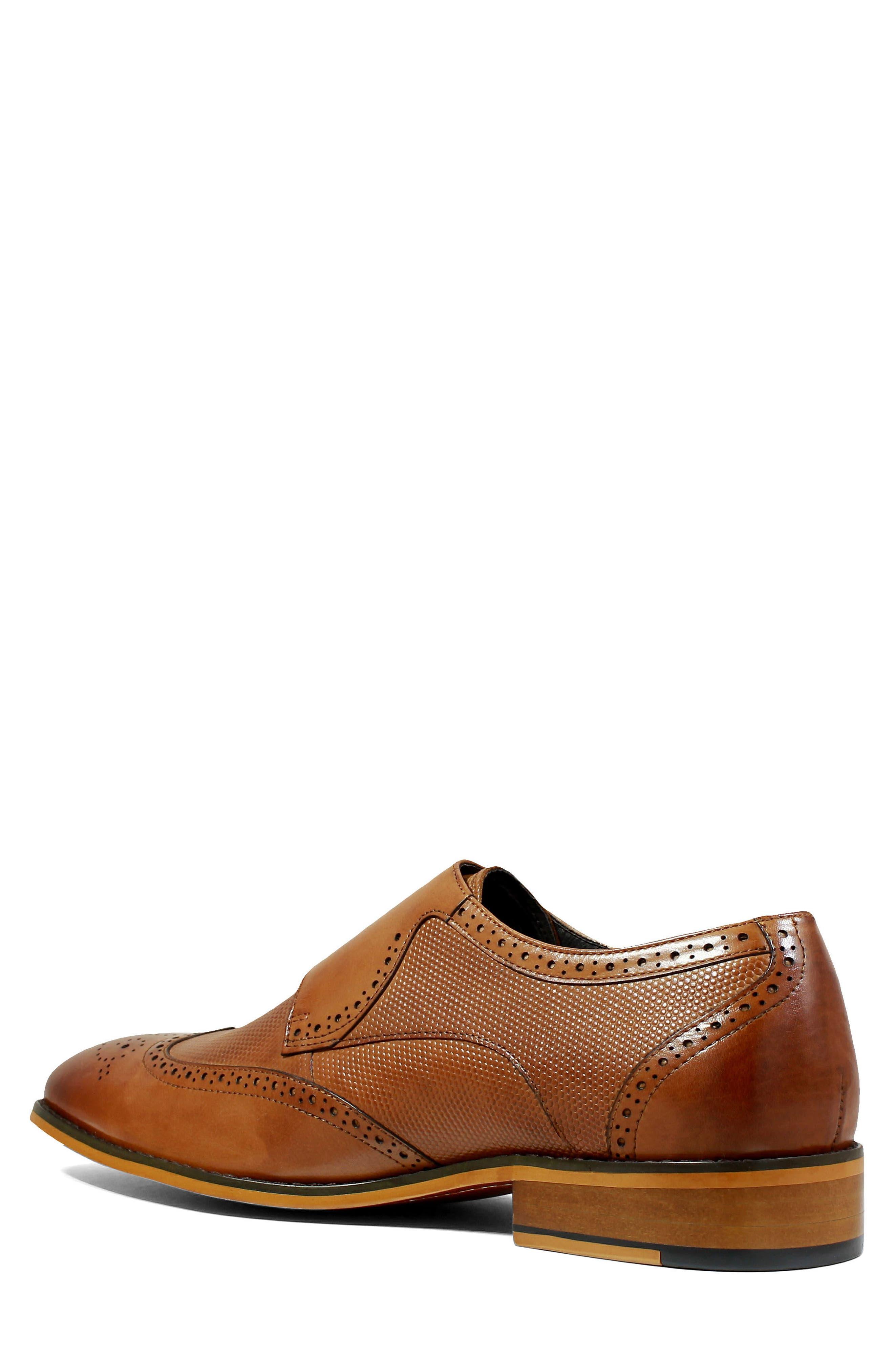 Lavine Wingtip Monk Shoe,                             Alternate thumbnail 2, color,                             Saddle Tan Leather