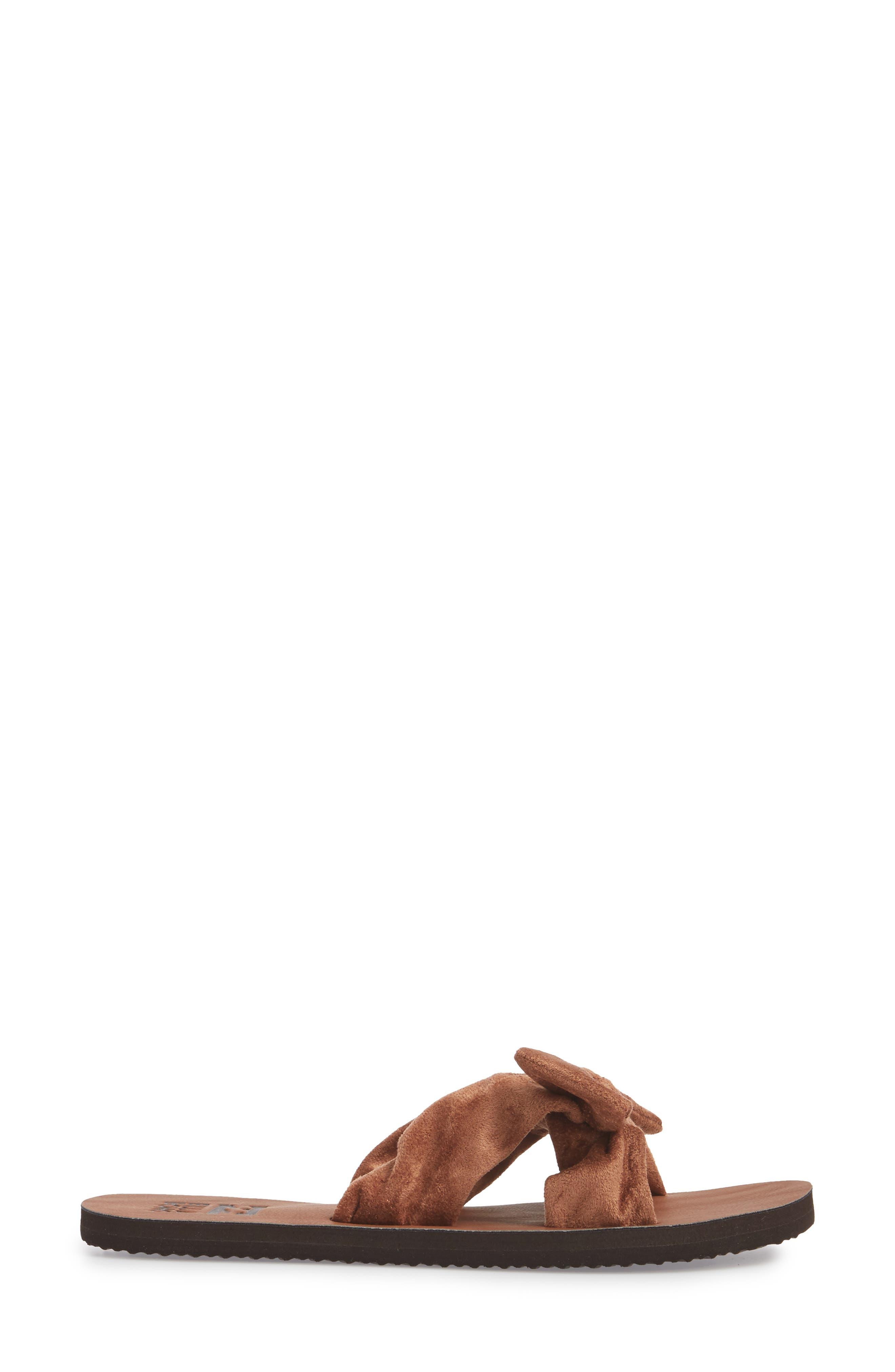 Tied-Up Slide Sandal,                             Alternate thumbnail 3, color,                             Desert Brown