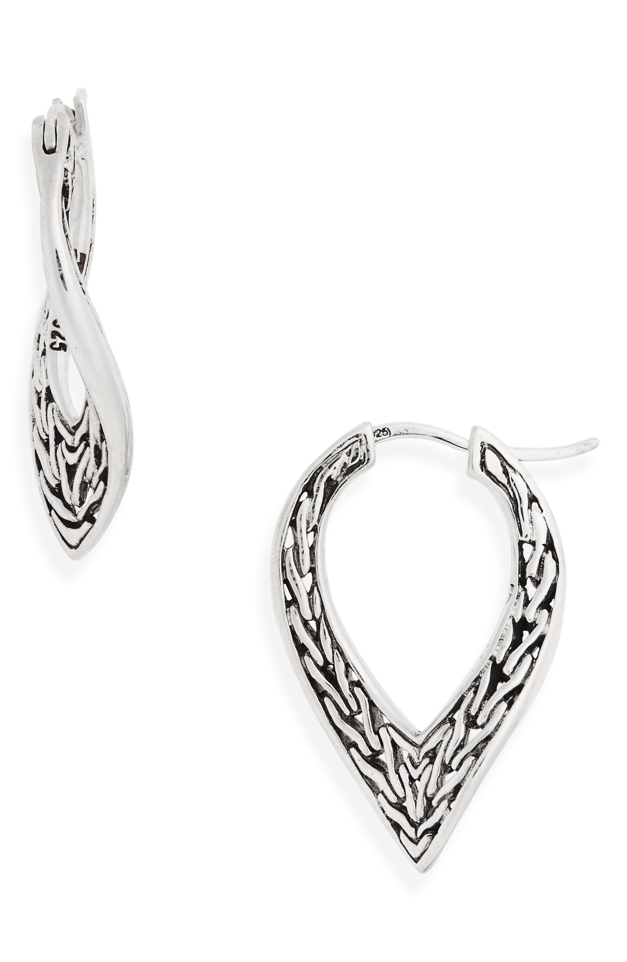 Classic Chain Small Hoop Earrings,                             Main thumbnail 1, color,                             Silver