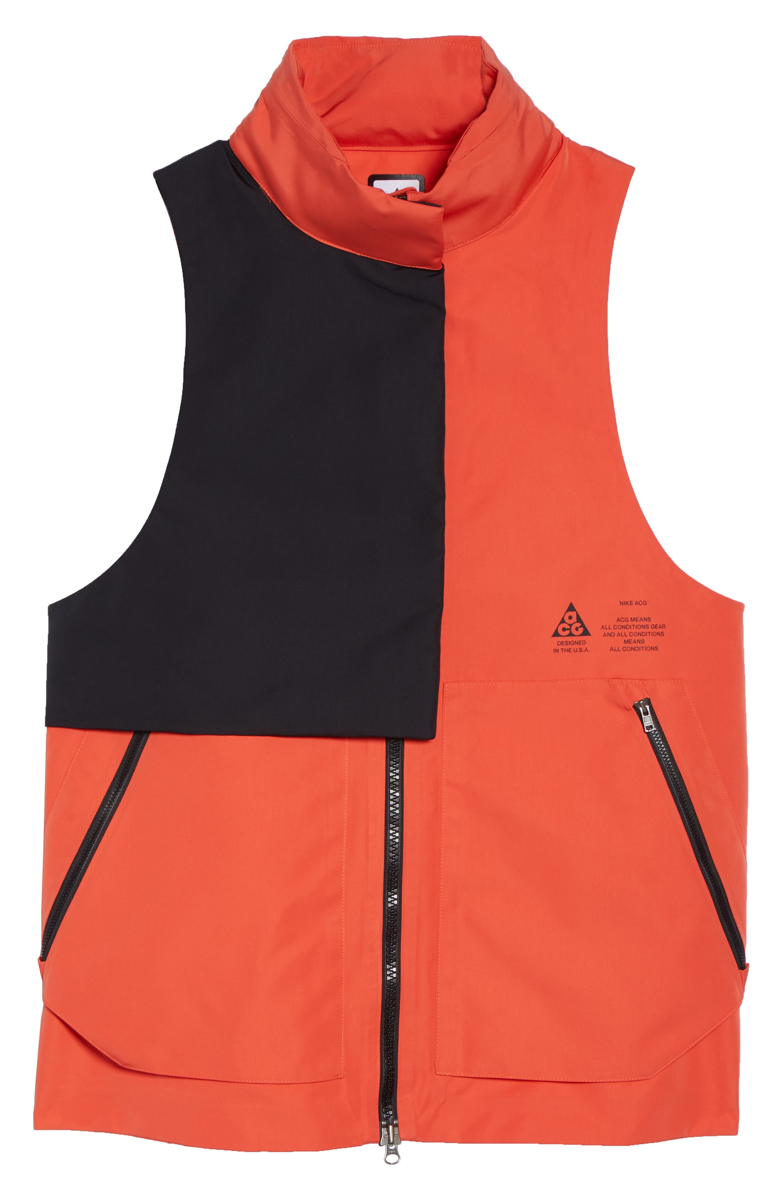 NikeLab ACG Water Repellent Women's Hooded Vest,                             Alternate thumbnail 8, color,                             Team Orange/ Team Orange