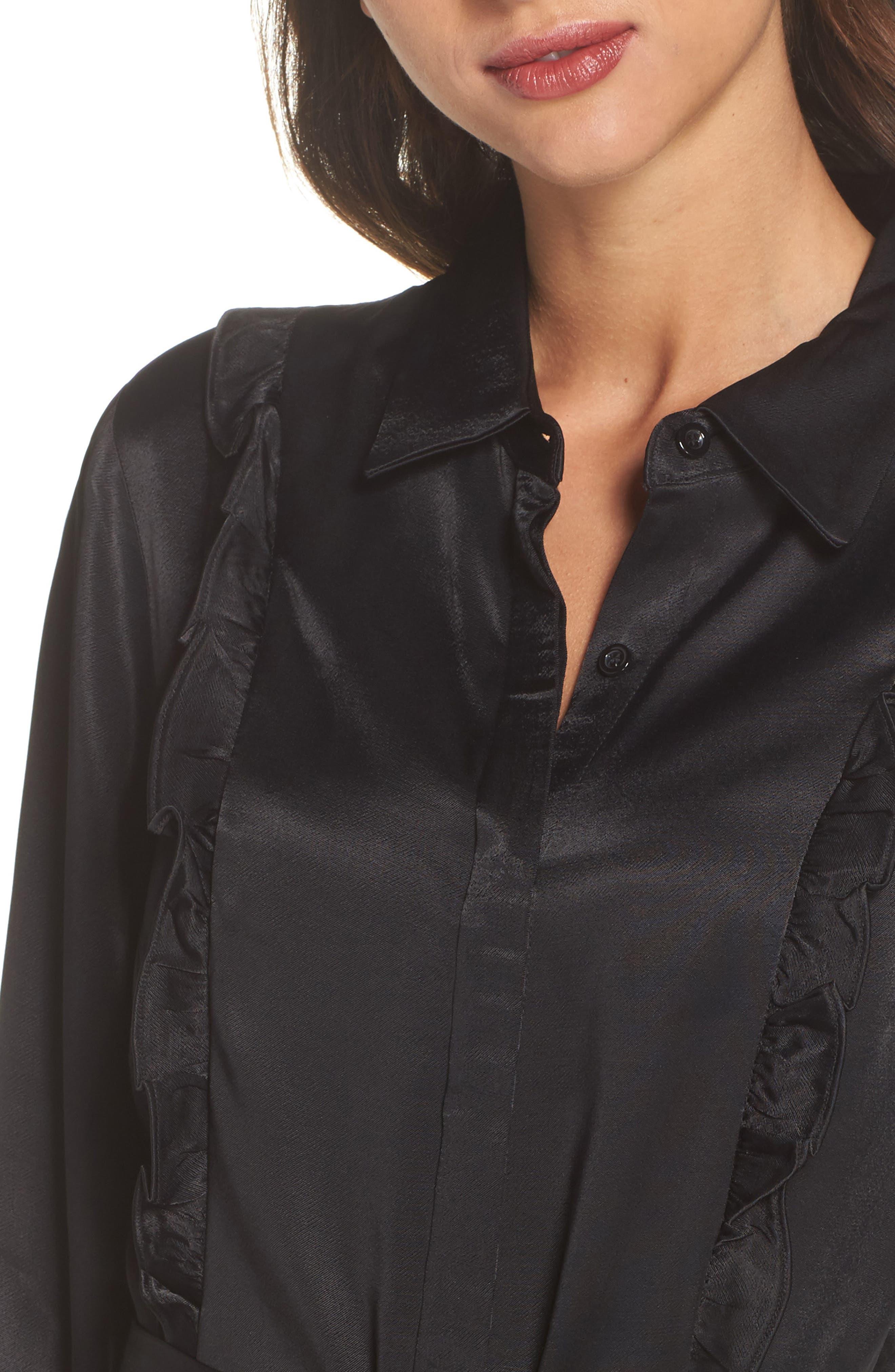 Cassia Ruffle Trim Shirtdress,                             Alternate thumbnail 4, color,                             Black