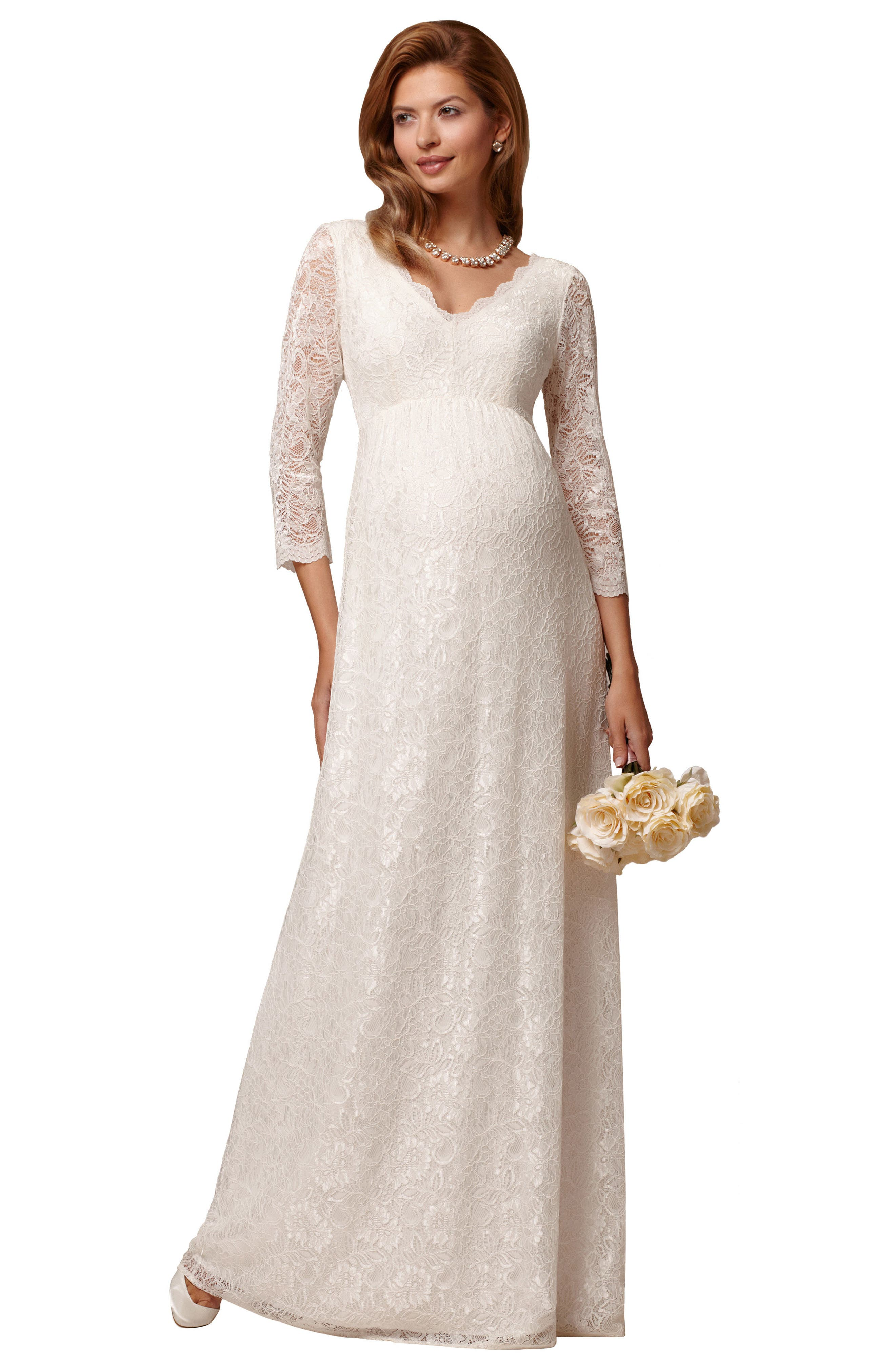 Chloe Lace Maternity Gown,                             Alternate thumbnail 3, color,                             Ivory