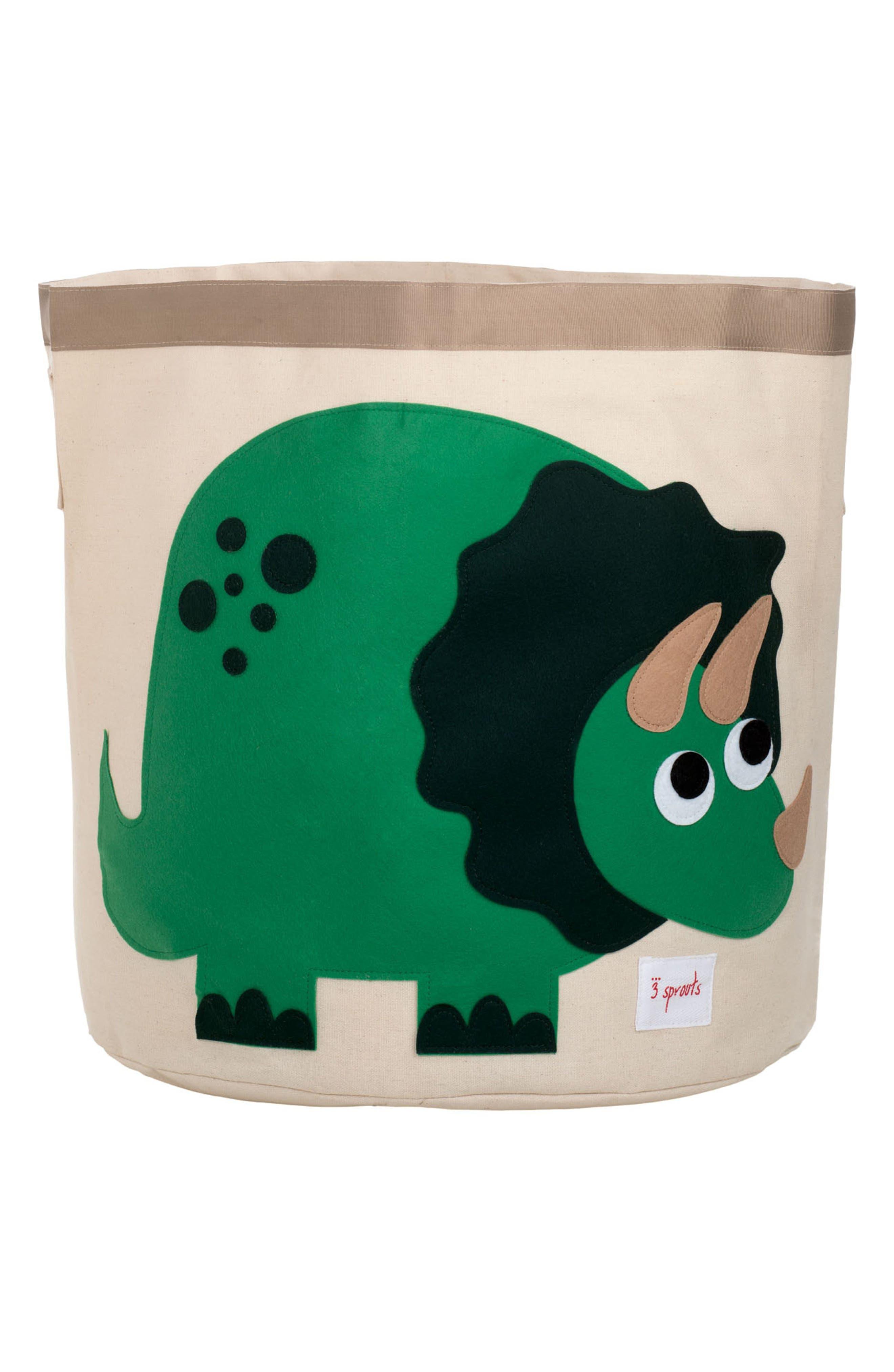Dino Canvas Storage Bin,                             Main thumbnail 1, color,                             Green