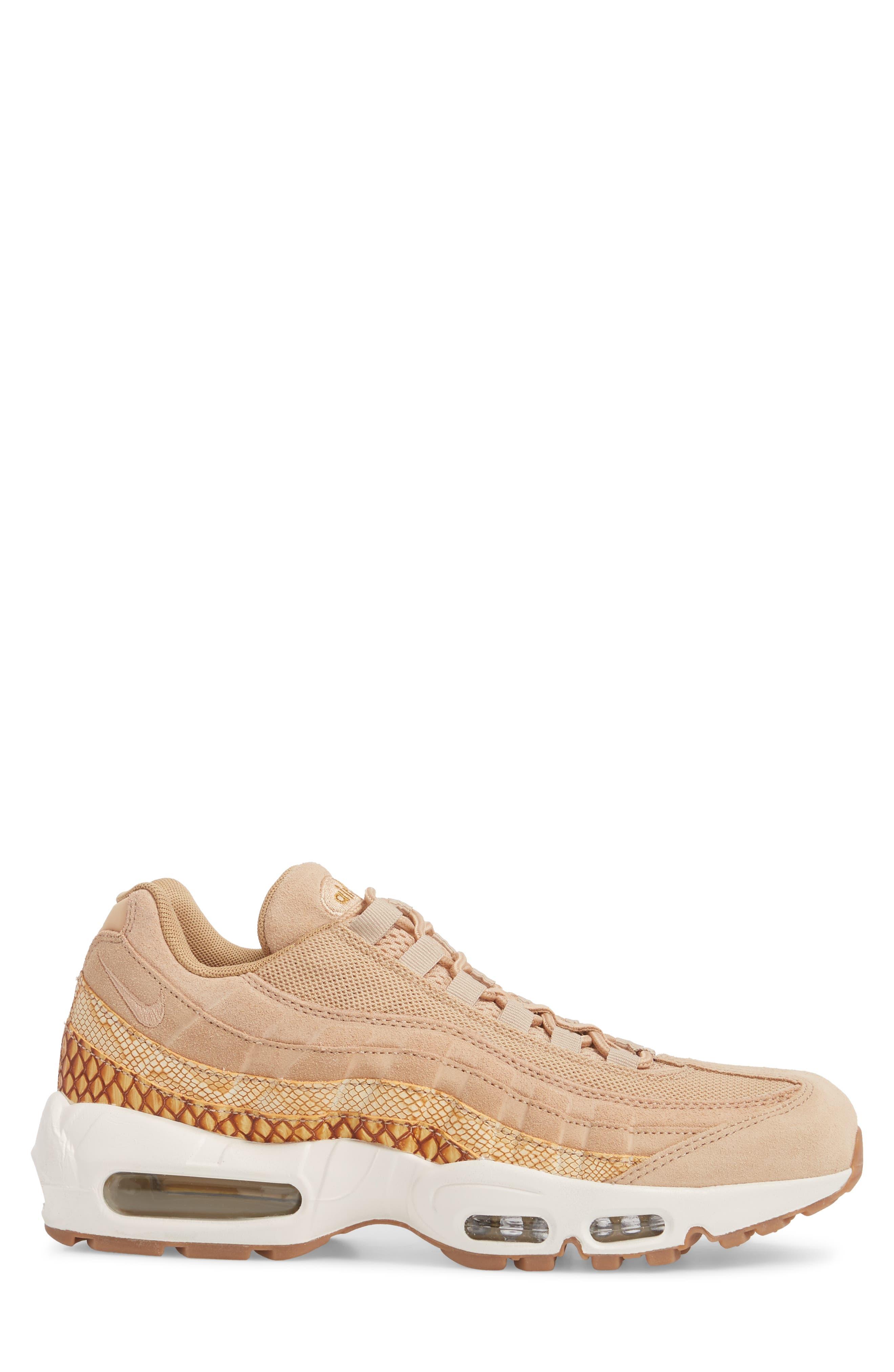 Air Max 95 Premium SE Sneaker,                             Alternate thumbnail 3, color,                             Tan/ Tan/ Elemental Gold