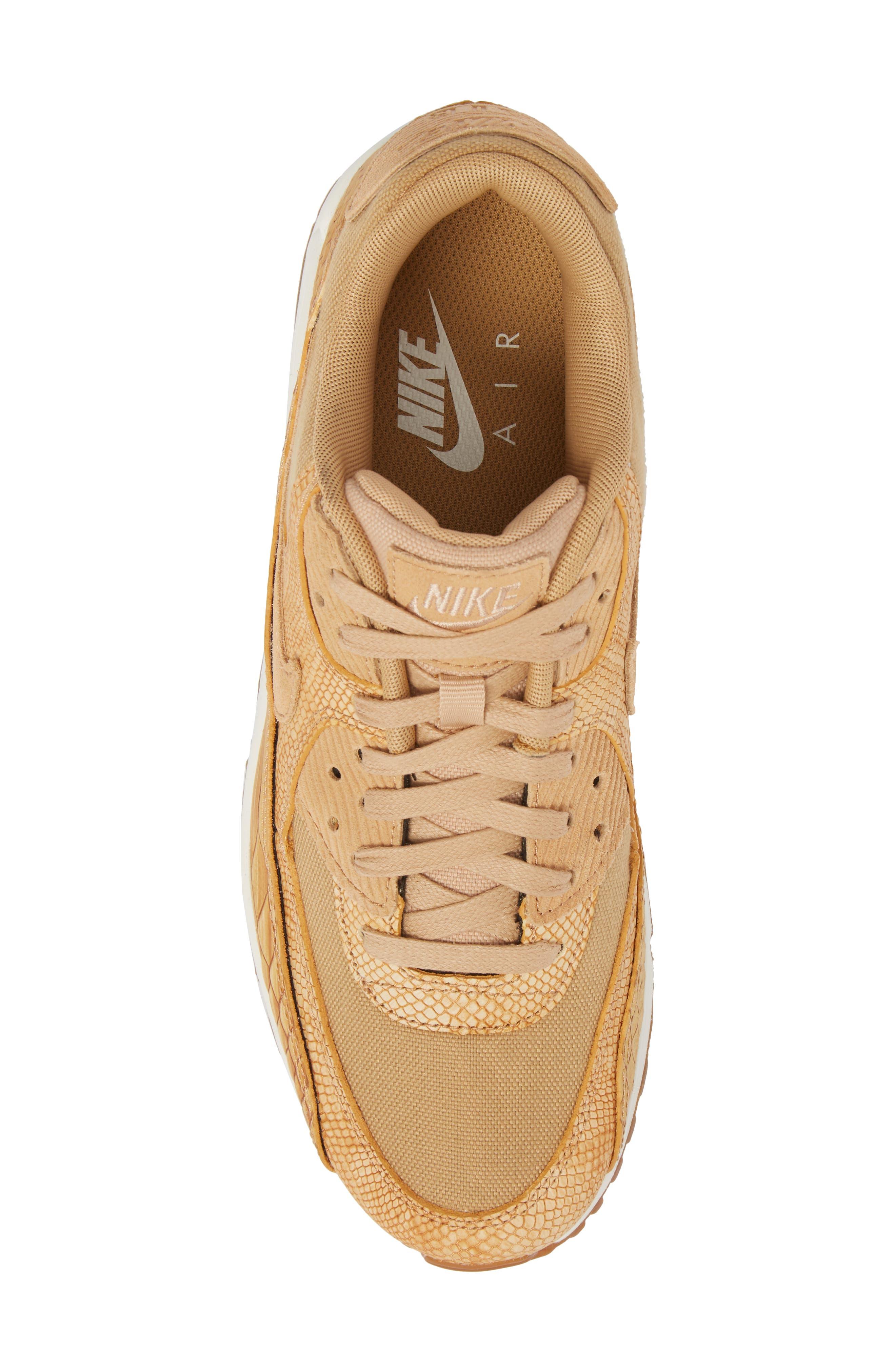 Air Max 90 Premium Sneaker,                             Alternate thumbnail 5, color,                             Tan/ Tan/ Elemental Gold