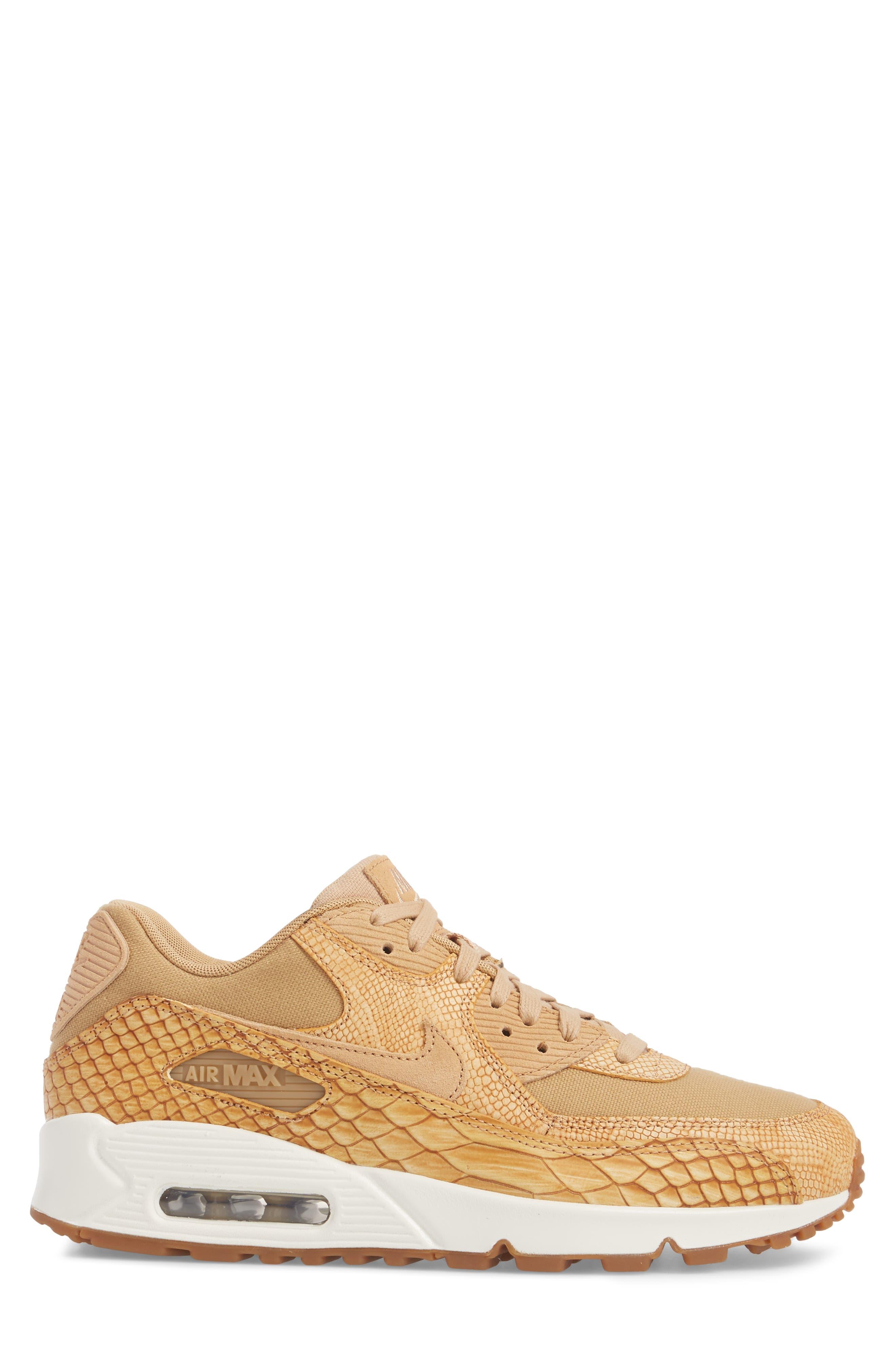 Air Max 90 Premium Sneaker,                             Alternate thumbnail 3, color,                             Tan/ Tan/ Elemental Gold