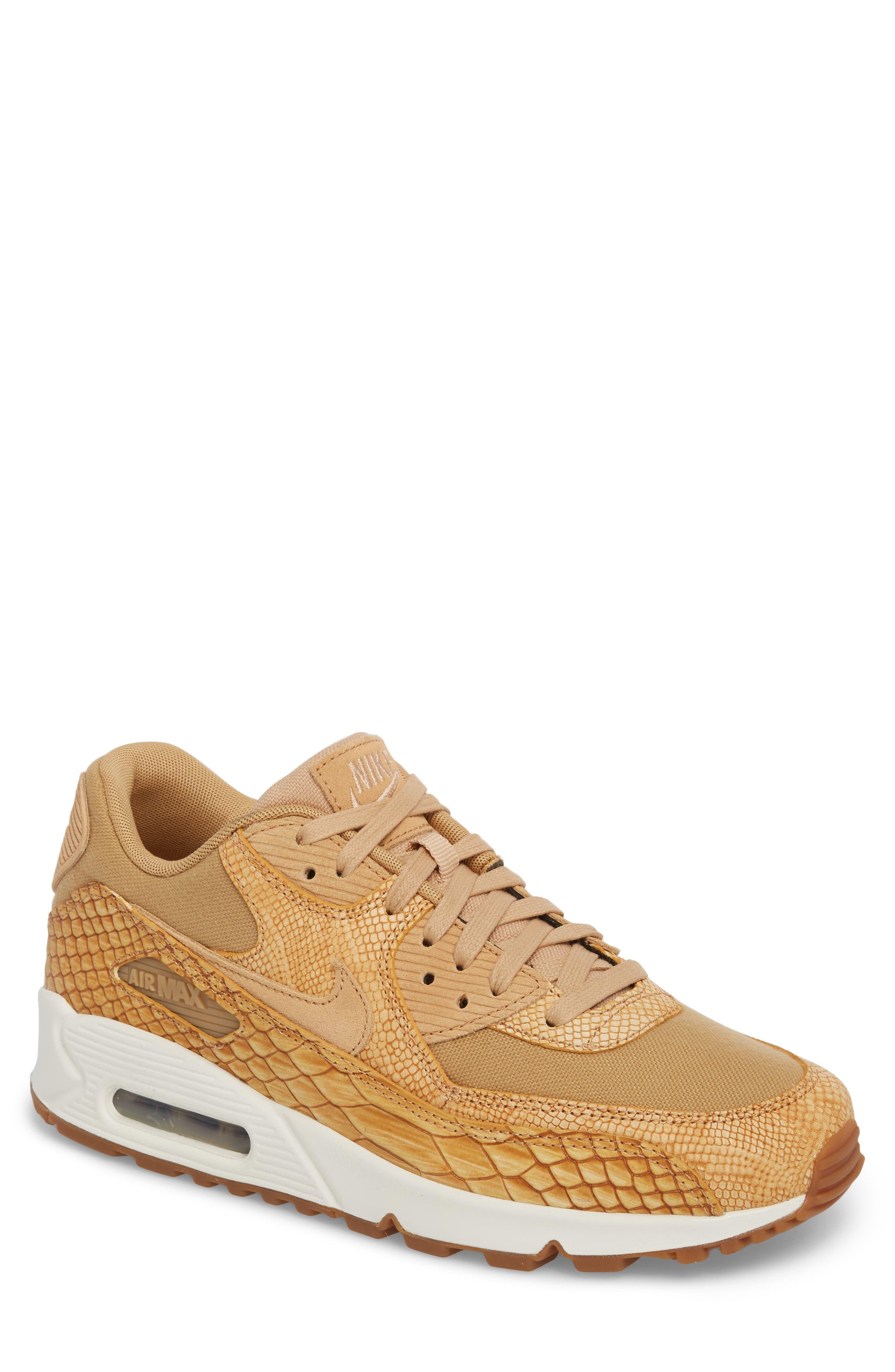 Air Max 90 Premium Sneaker,                             Main thumbnail 1, color,                             Tan/ Tan/ Elemental Gold