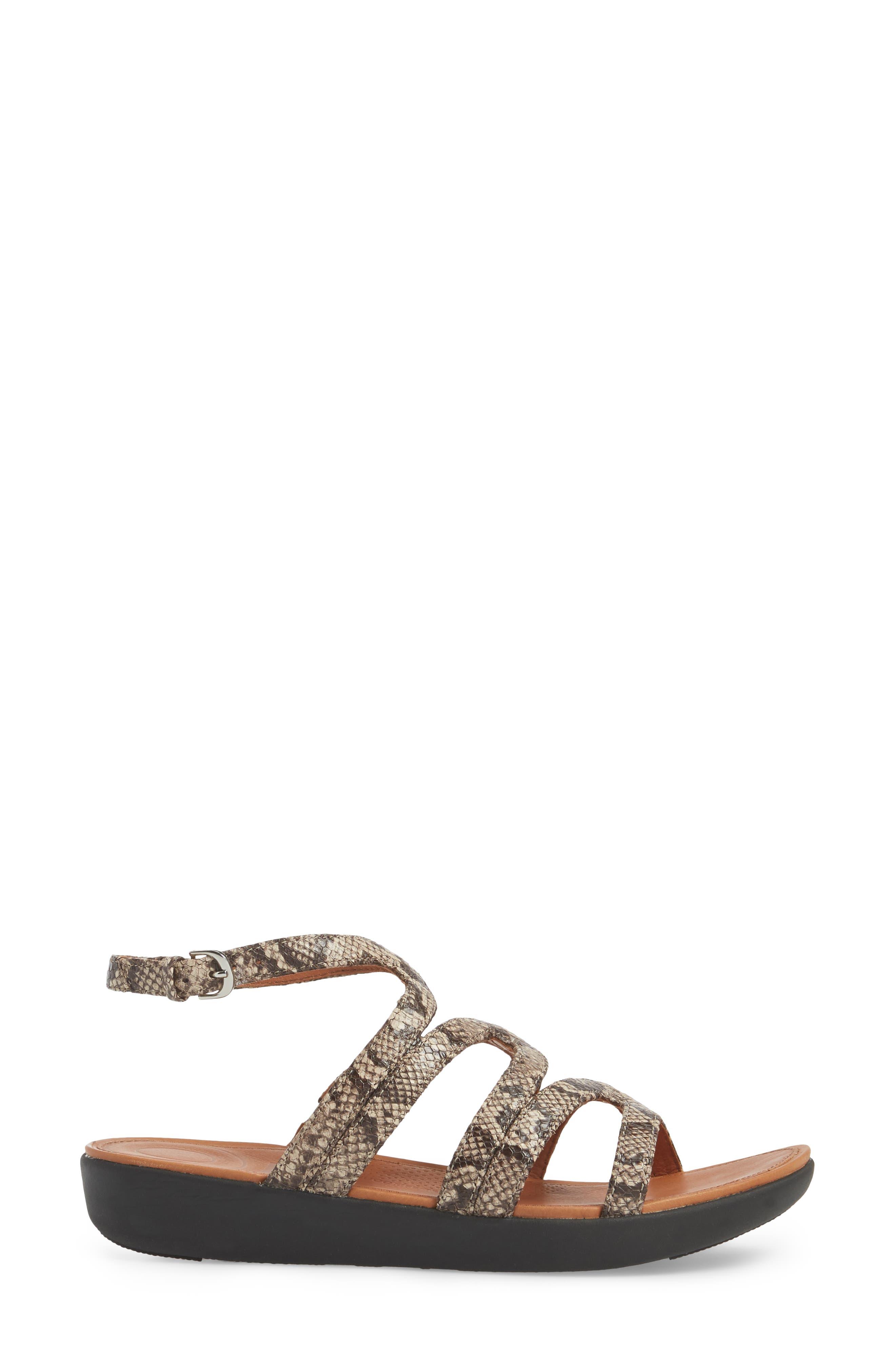 Strata Gladiator Sandal,                             Alternate thumbnail 3, color,                             Taupe Snake Print Leather