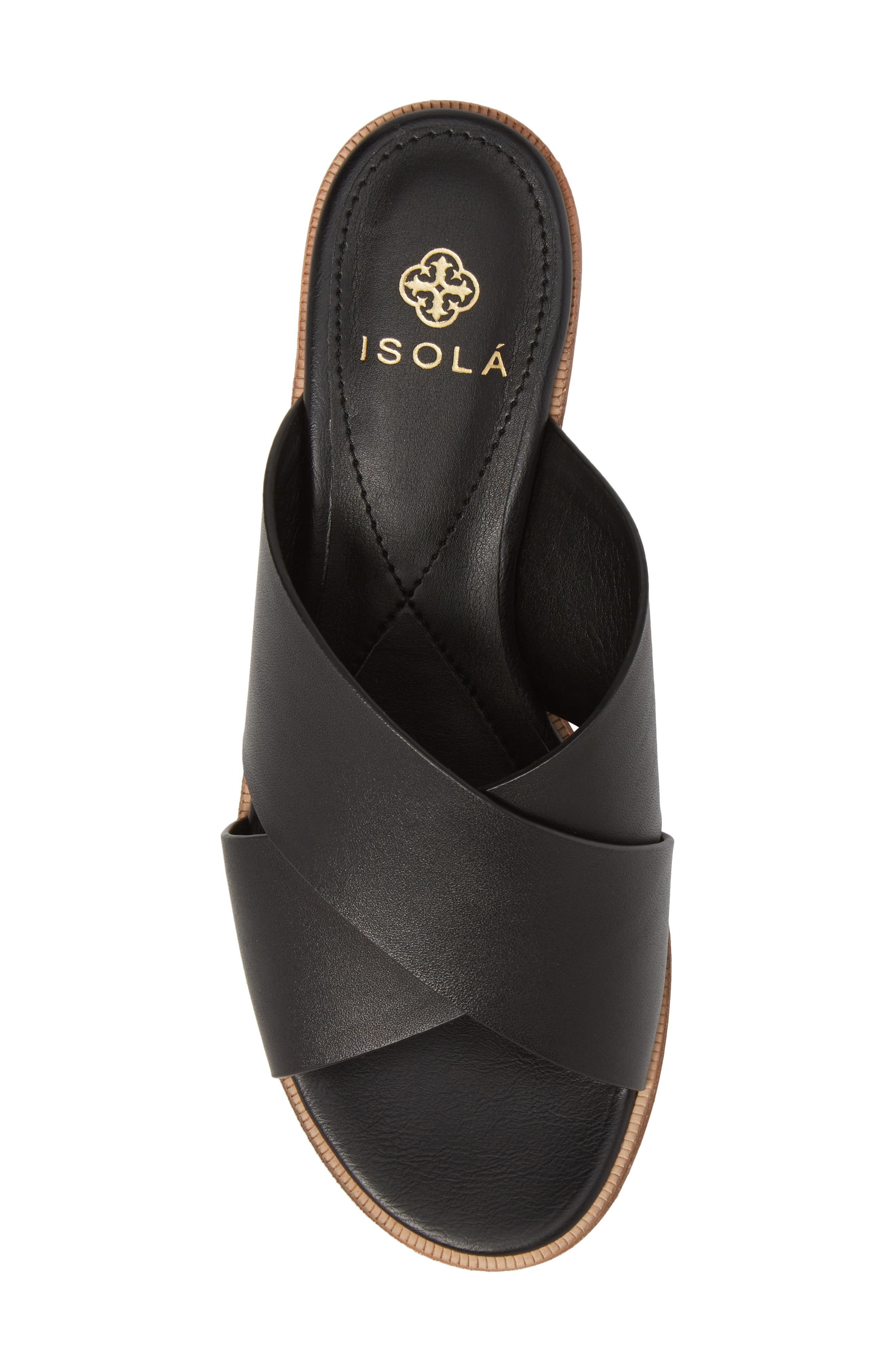 Isola Ginata Slide Sandal,                             Alternate thumbnail 5, color,                             Black Leather