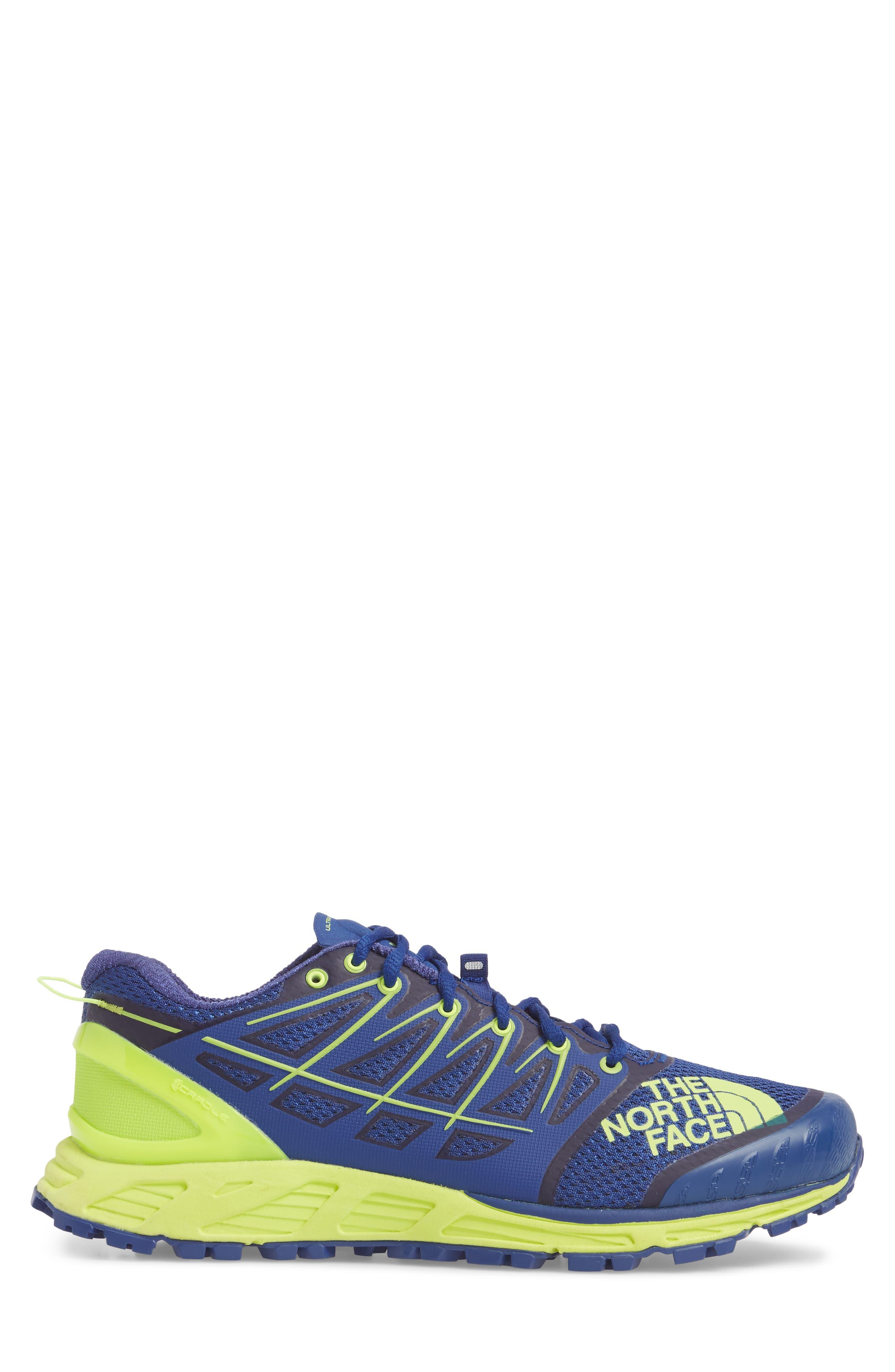Ultra Endurance II Trail Running Shoe,                             Alternate thumbnail 3, color,                             Brit Blue/ Dayglo Yellow