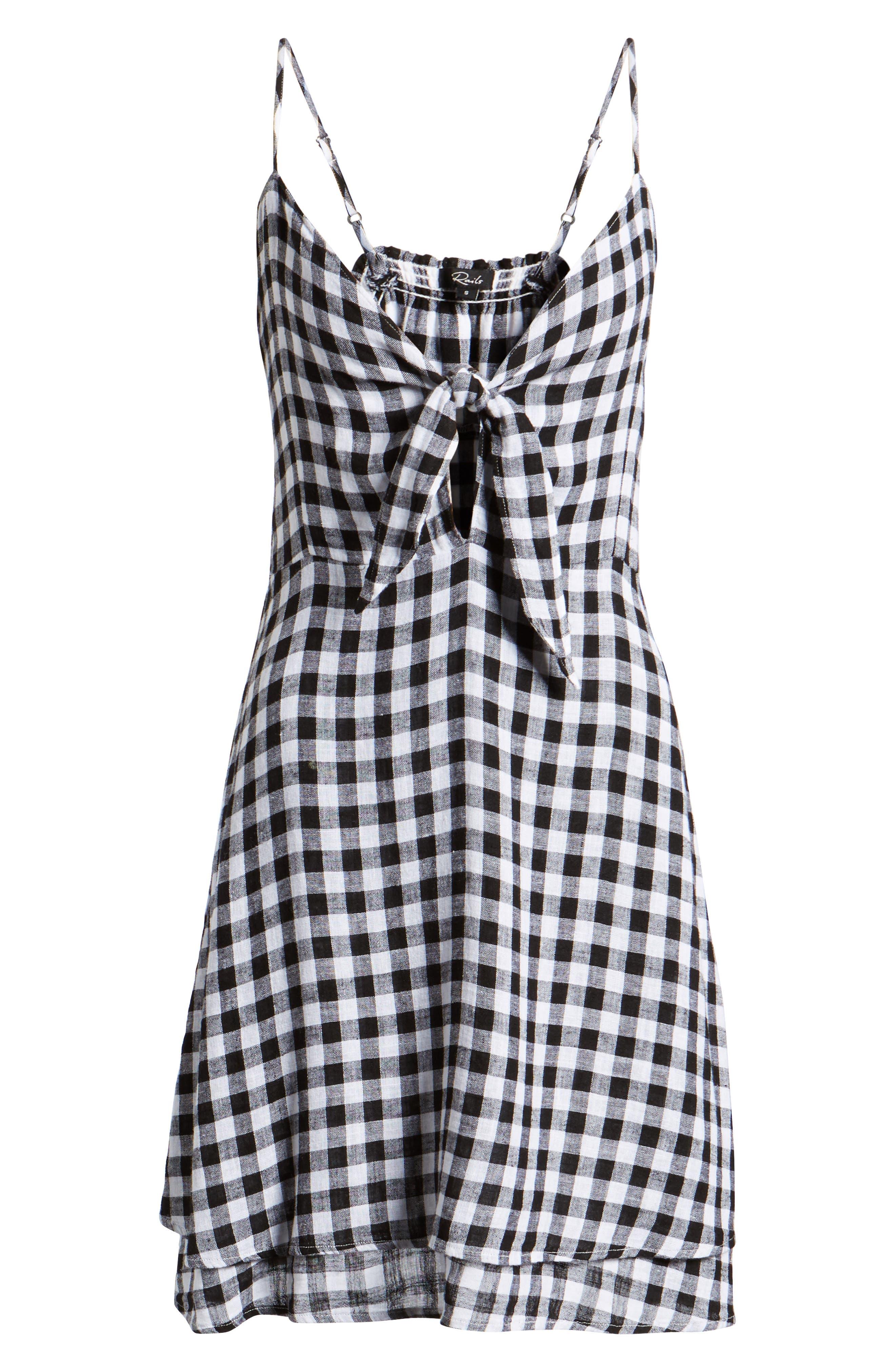 August Gingham Tie Front Dress,                             Alternate thumbnail 6, color,                             Black Gingham