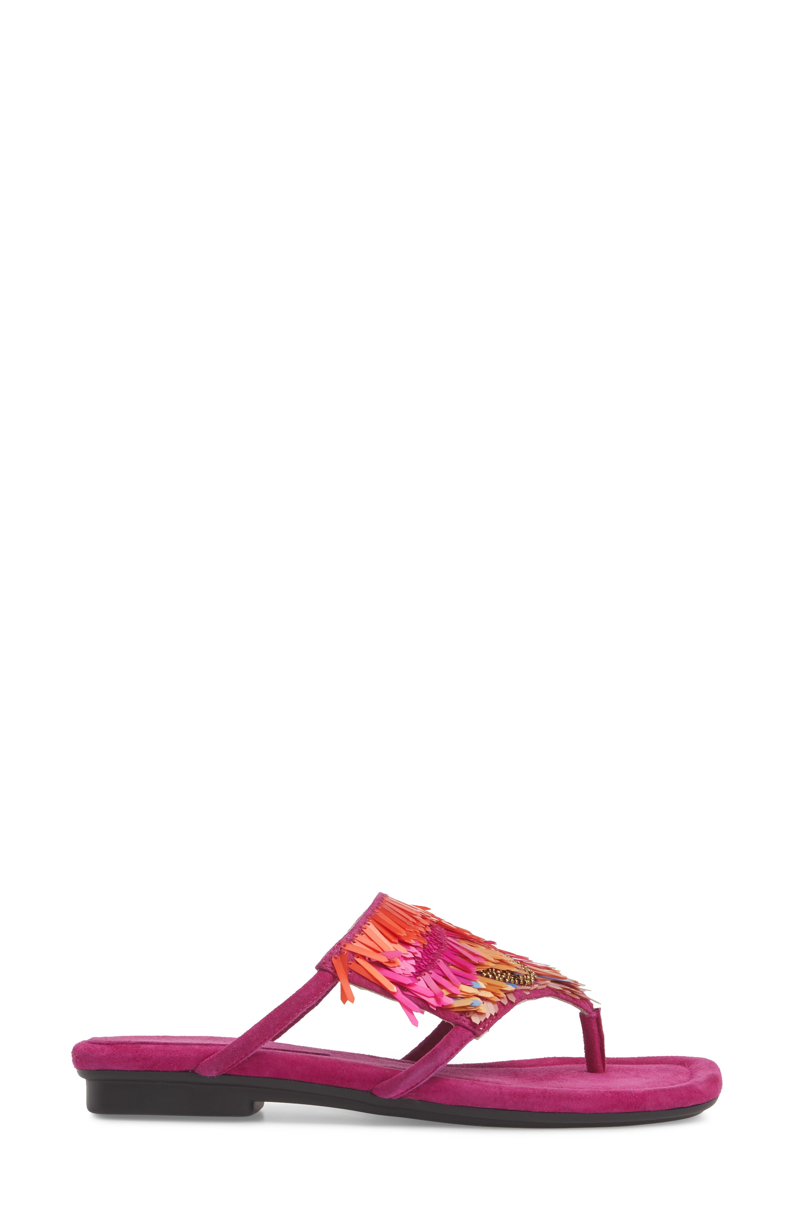 Kya Feather Sequin Sandal,                             Alternate thumbnail 3, color,                             Magenta Leather