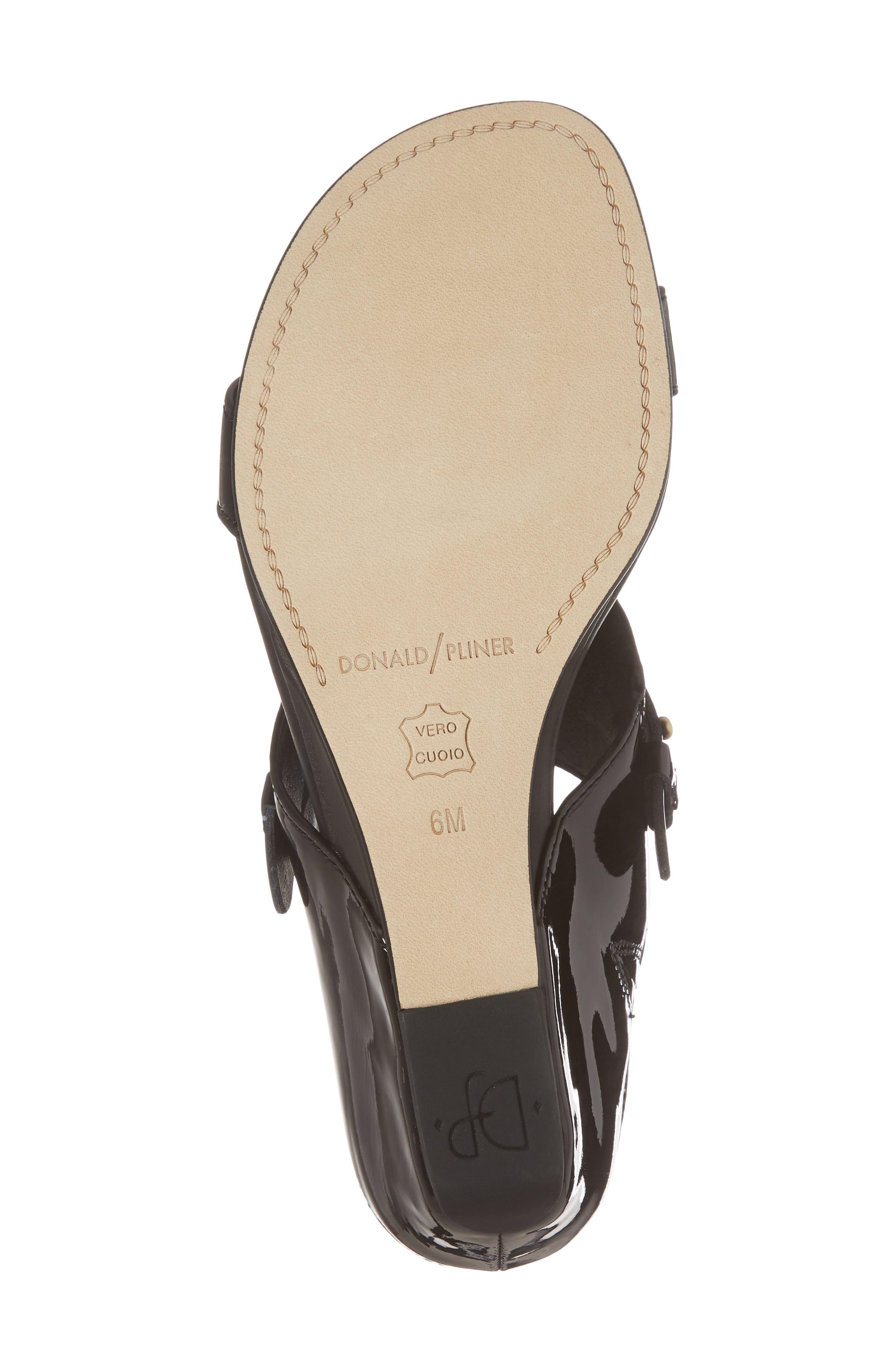 Dayna Wedge Sandal,                             Alternate thumbnail 3, color,                             Black Leather
