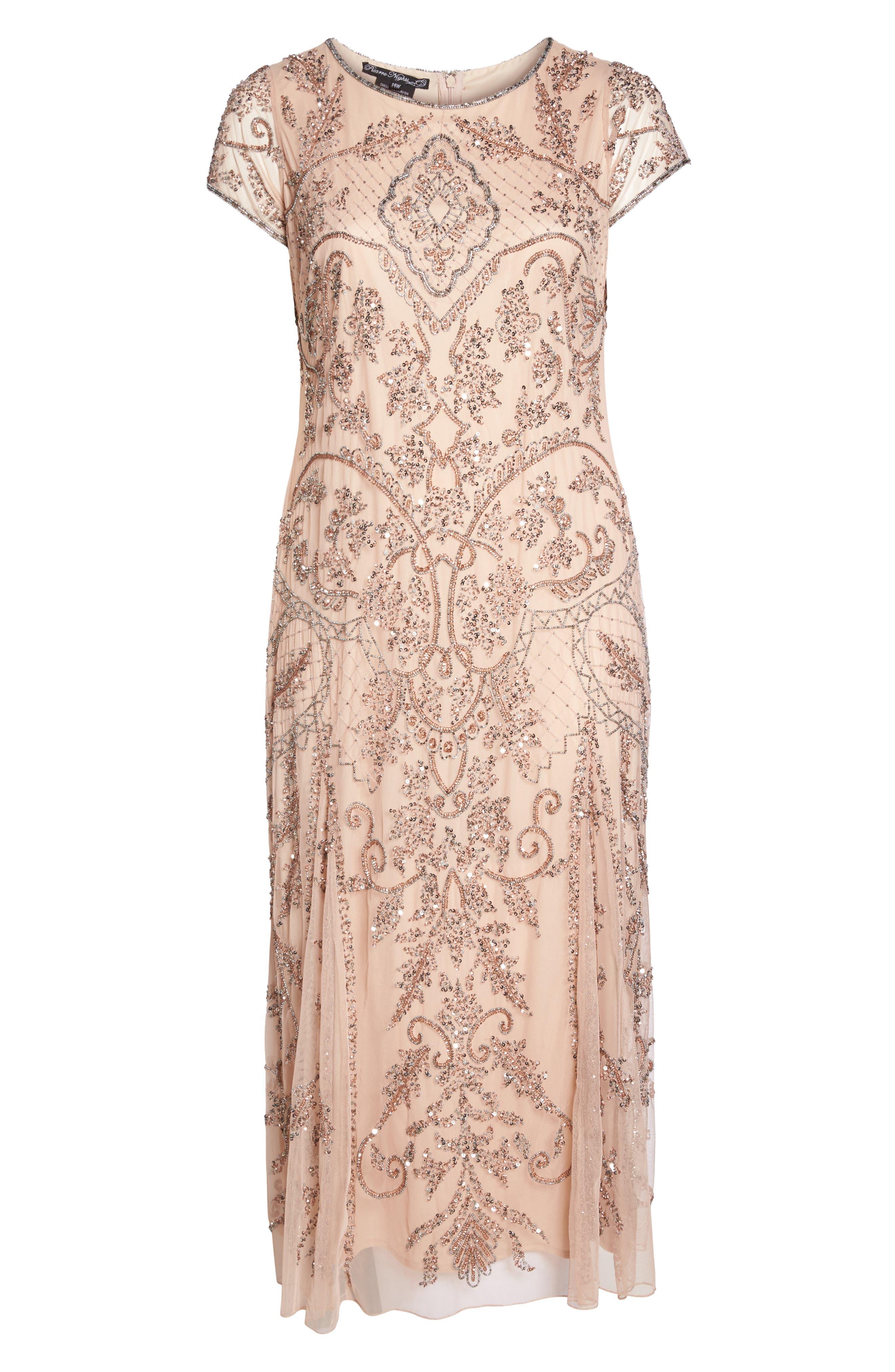 Beaded Short Sleeve Column Gown,                             Alternate thumbnail 6, color,                             Blush