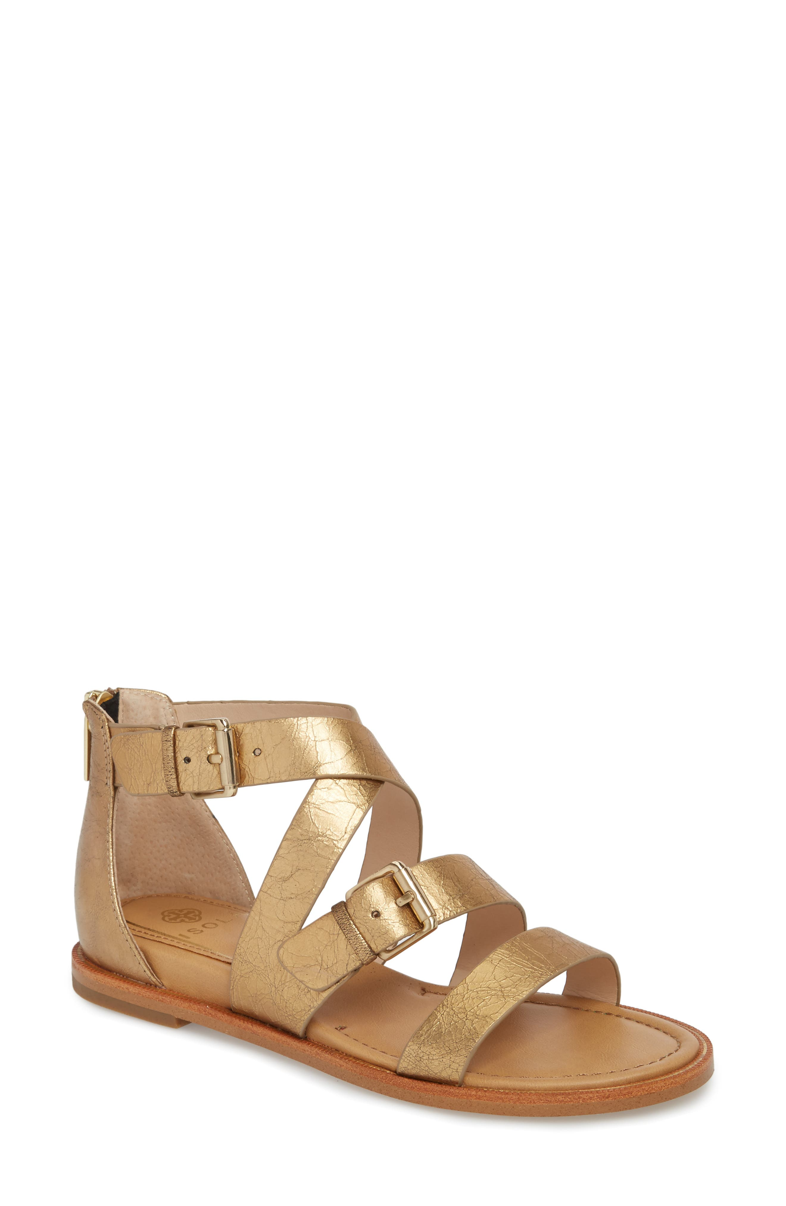 Isola Sharni Sandal,                         Main,                         color, Old Gold Leather