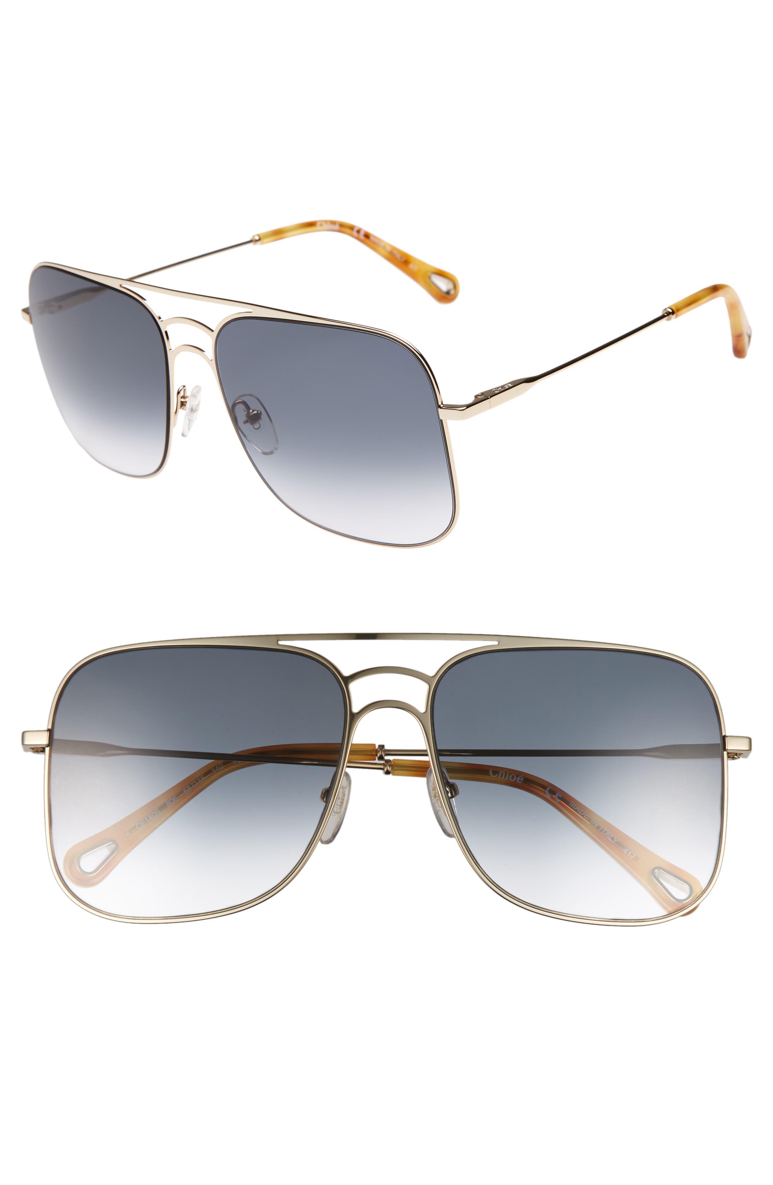 58mm Metal Navigator Sunglasses,                         Main,                         color, Gold/ Petrol