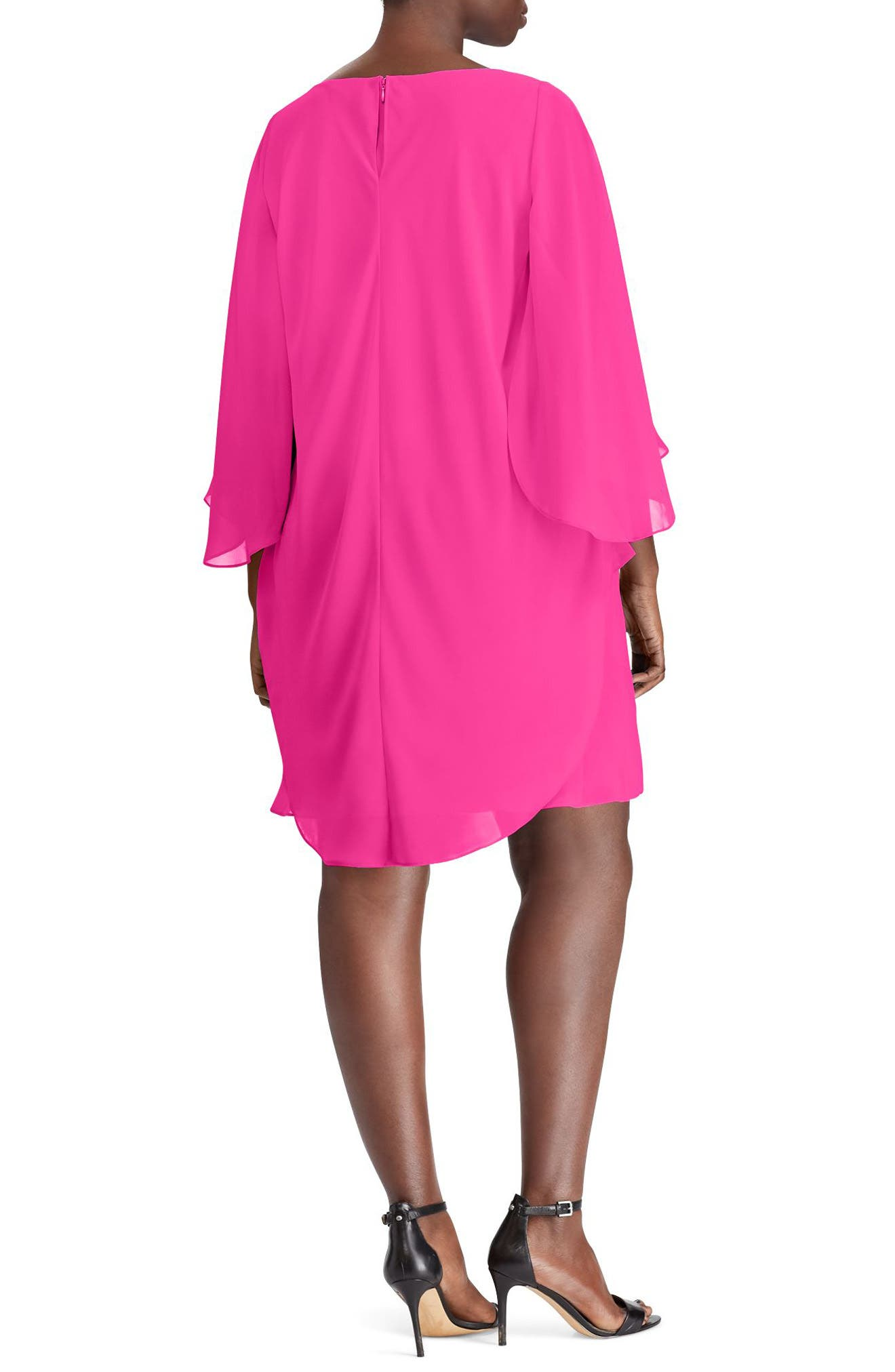 Layered Georgette Dress,                             Alternate thumbnail 2, color,                             Tropic Pink