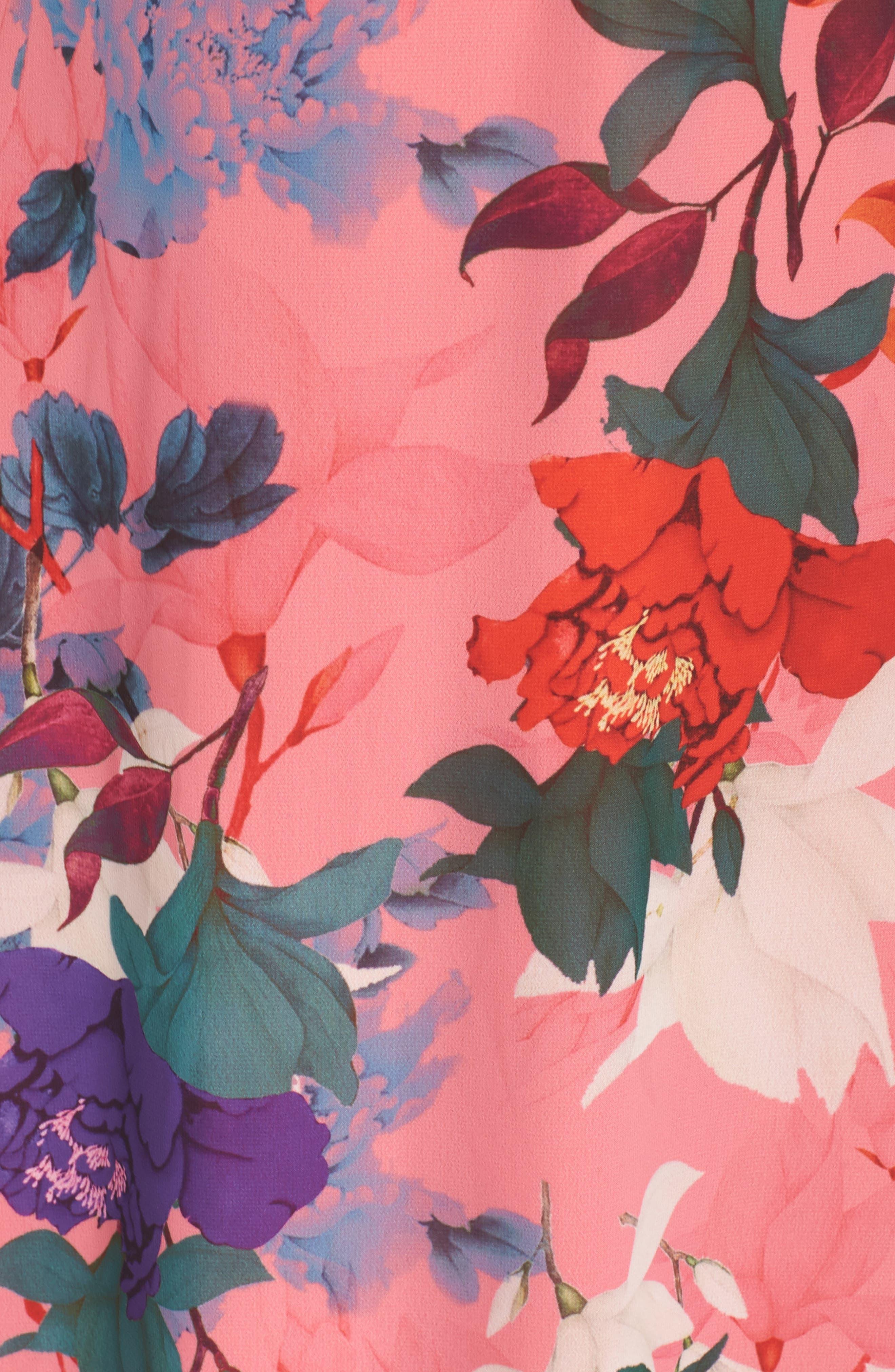 Floral Kimono Maxi Dress,                             Alternate thumbnail 5, color,                             Multi