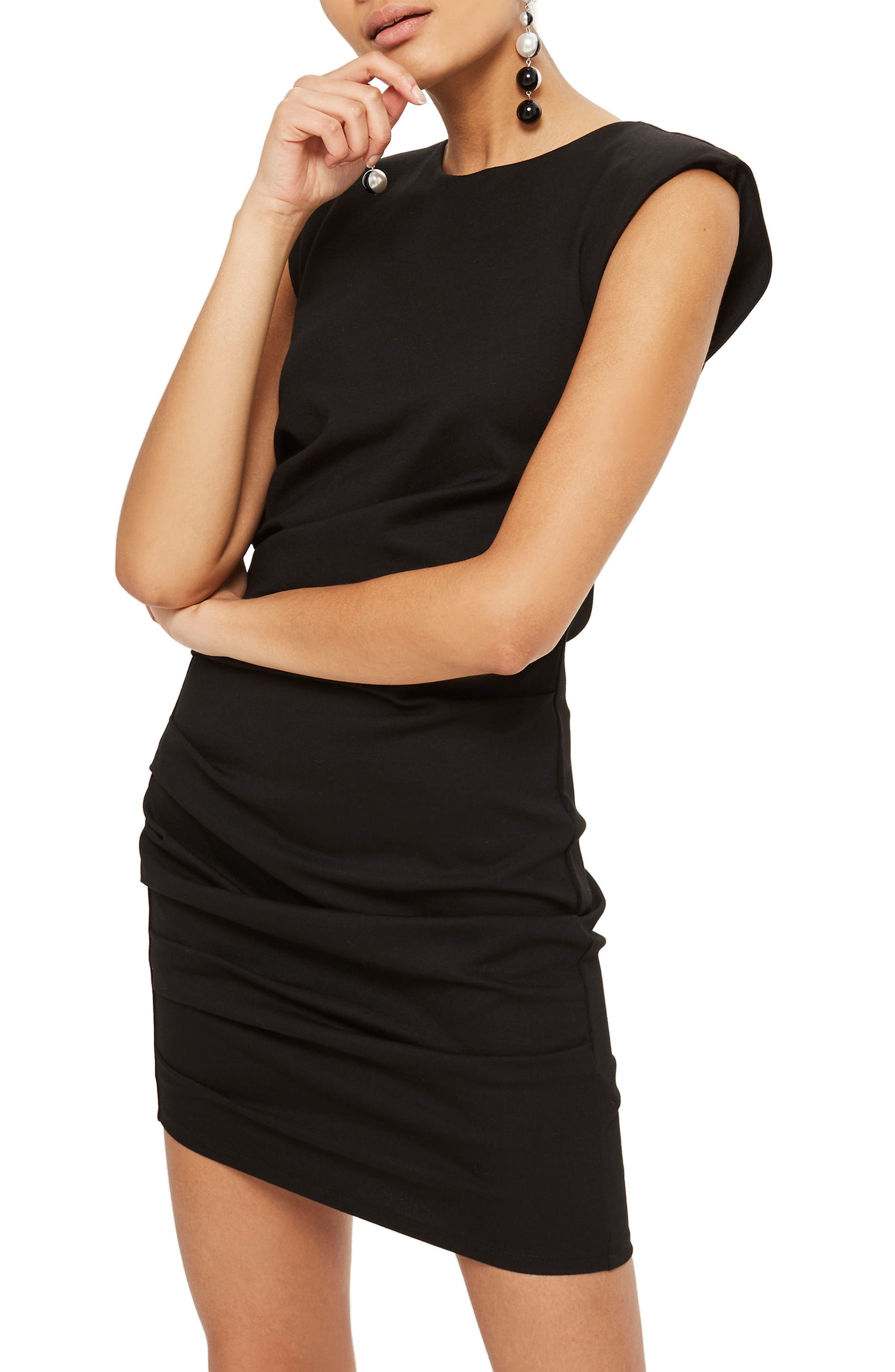Shoulder Pad Body-Con Minidress,                         Main,                         color, Black