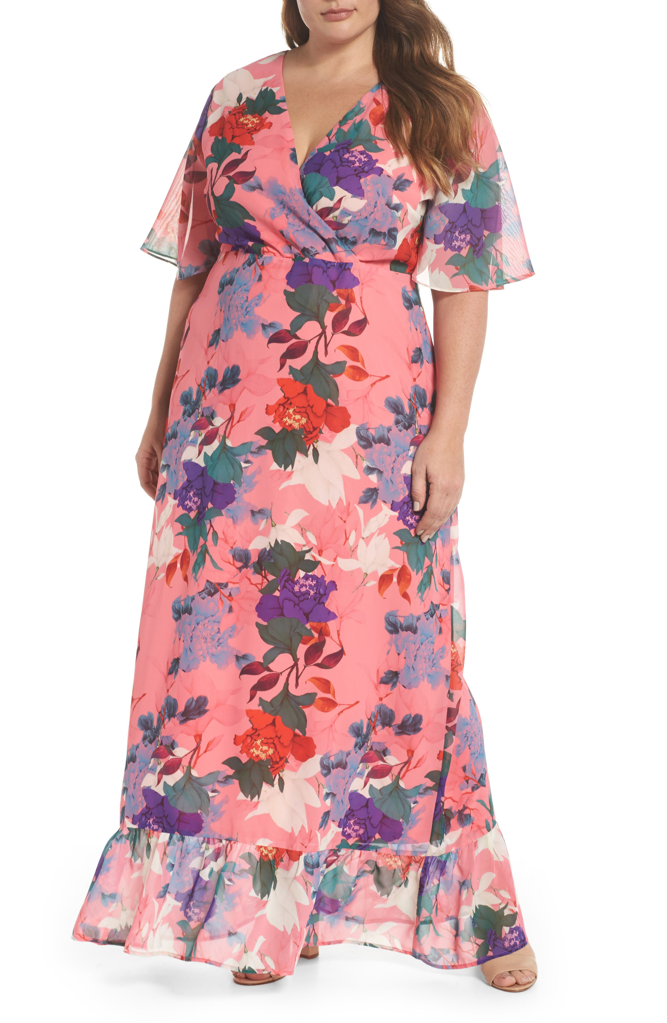 LOST INK Floral Kimono Maxi Dress (Plus Size)