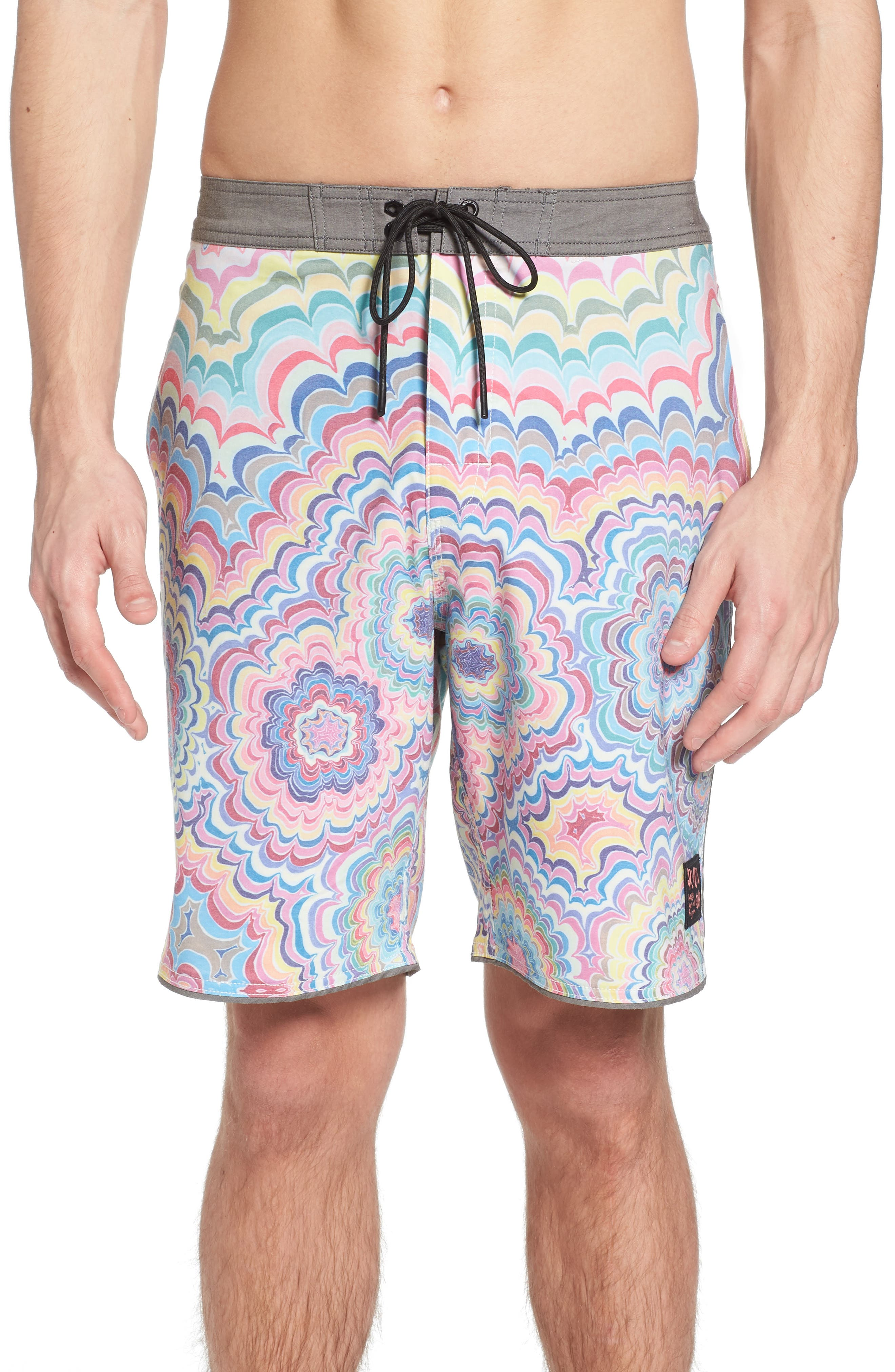 Kelsey Psych Swim Trunks,                         Main,                         color, Coral