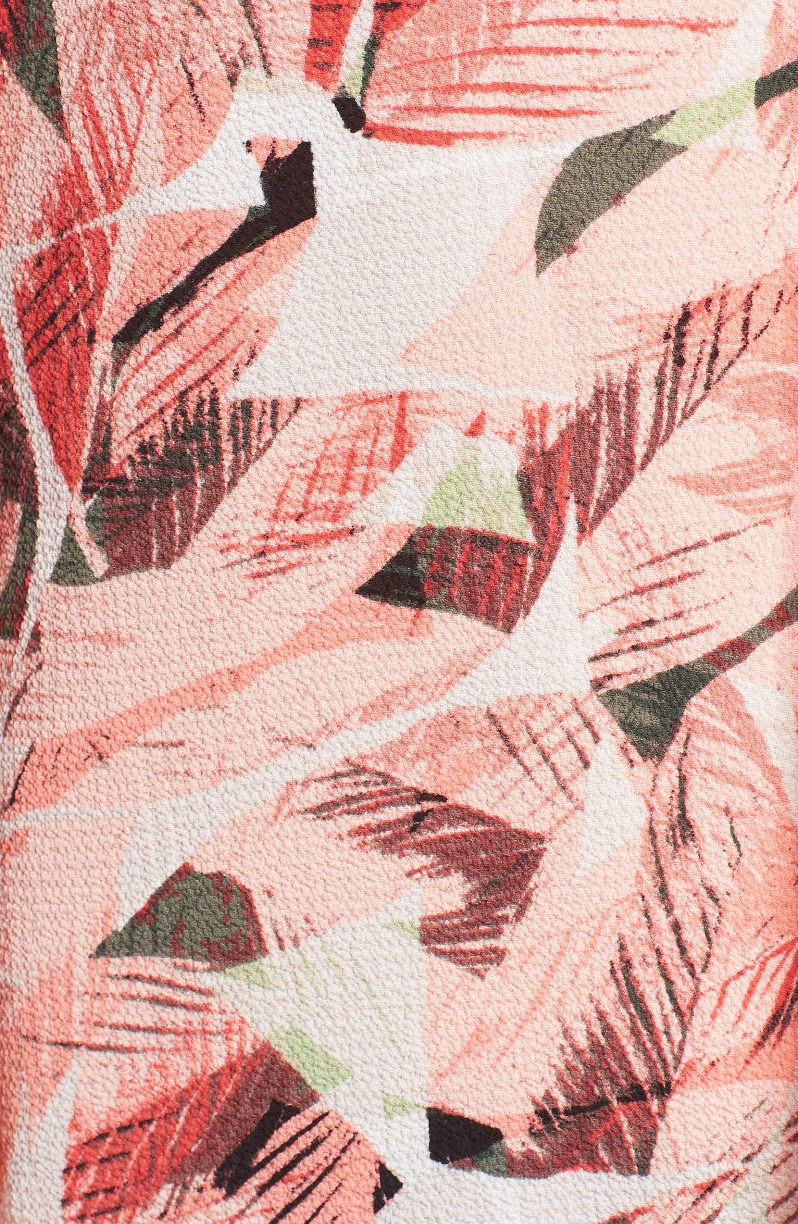 Tropical Print Pleated Sleeve Top,                             Alternate thumbnail 6, color,                             867-Sunrisepeach