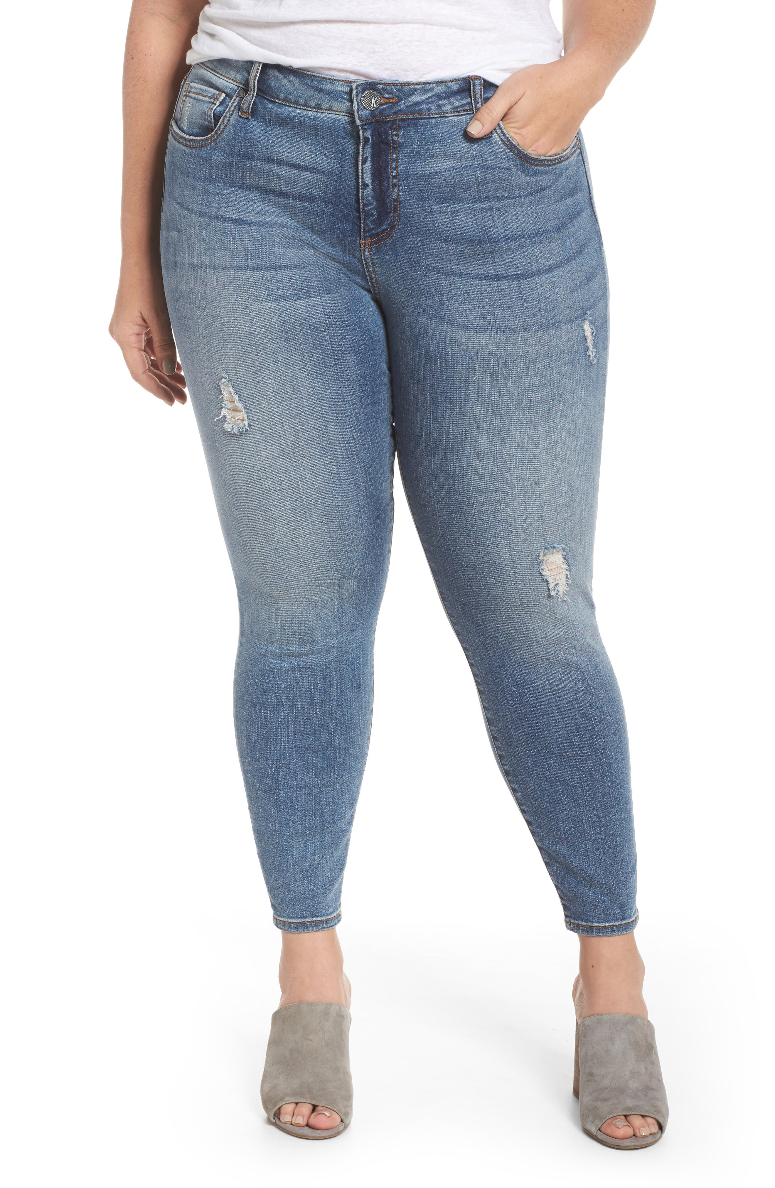 Main Image - KUT from the Kloth Donna High Waist Ankle Skinny Jeans (Galvanized with Me) (Plus Size)