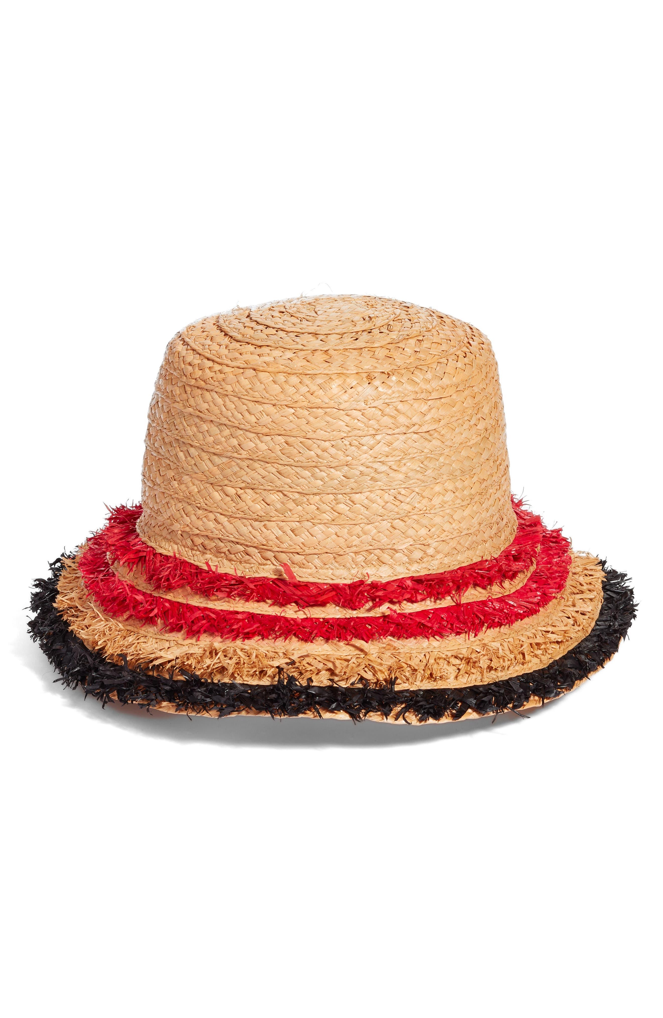 Fringe Raffia Packable Bucket Hat,                         Main,                         color, Natural Combo