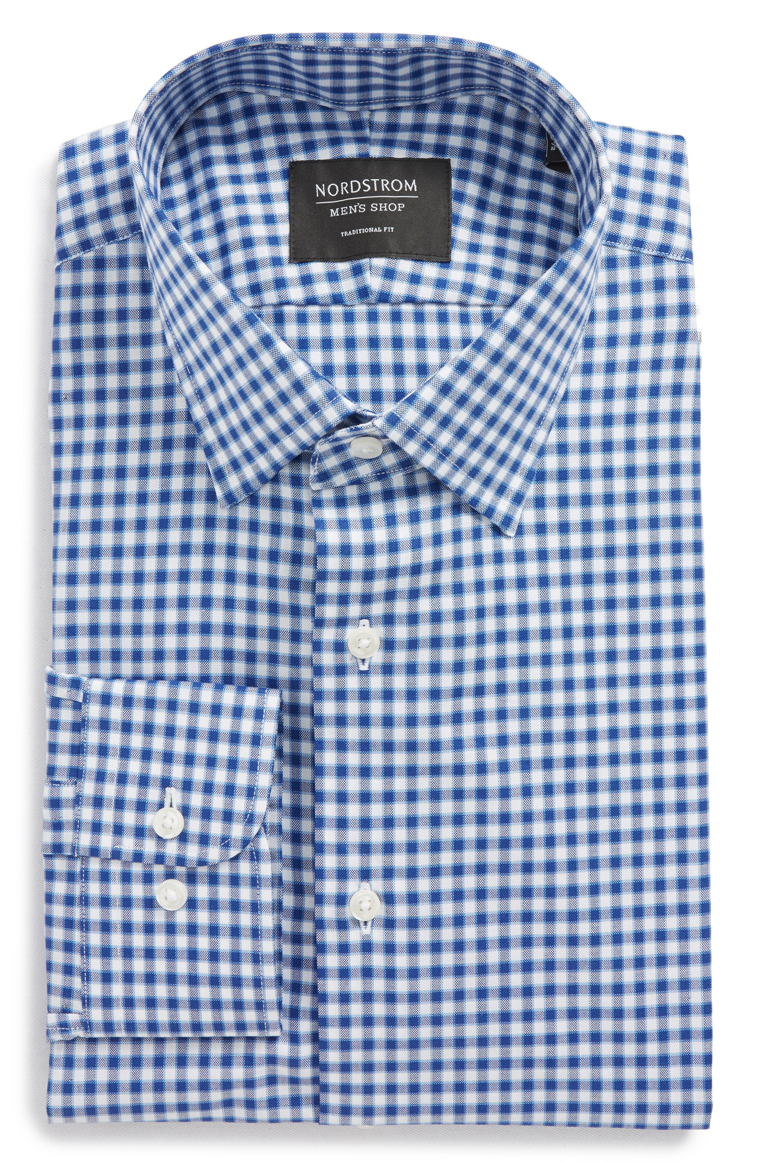Traditional Fit Check Dress Shirt,                         Main,                         color, Blue Sodalite