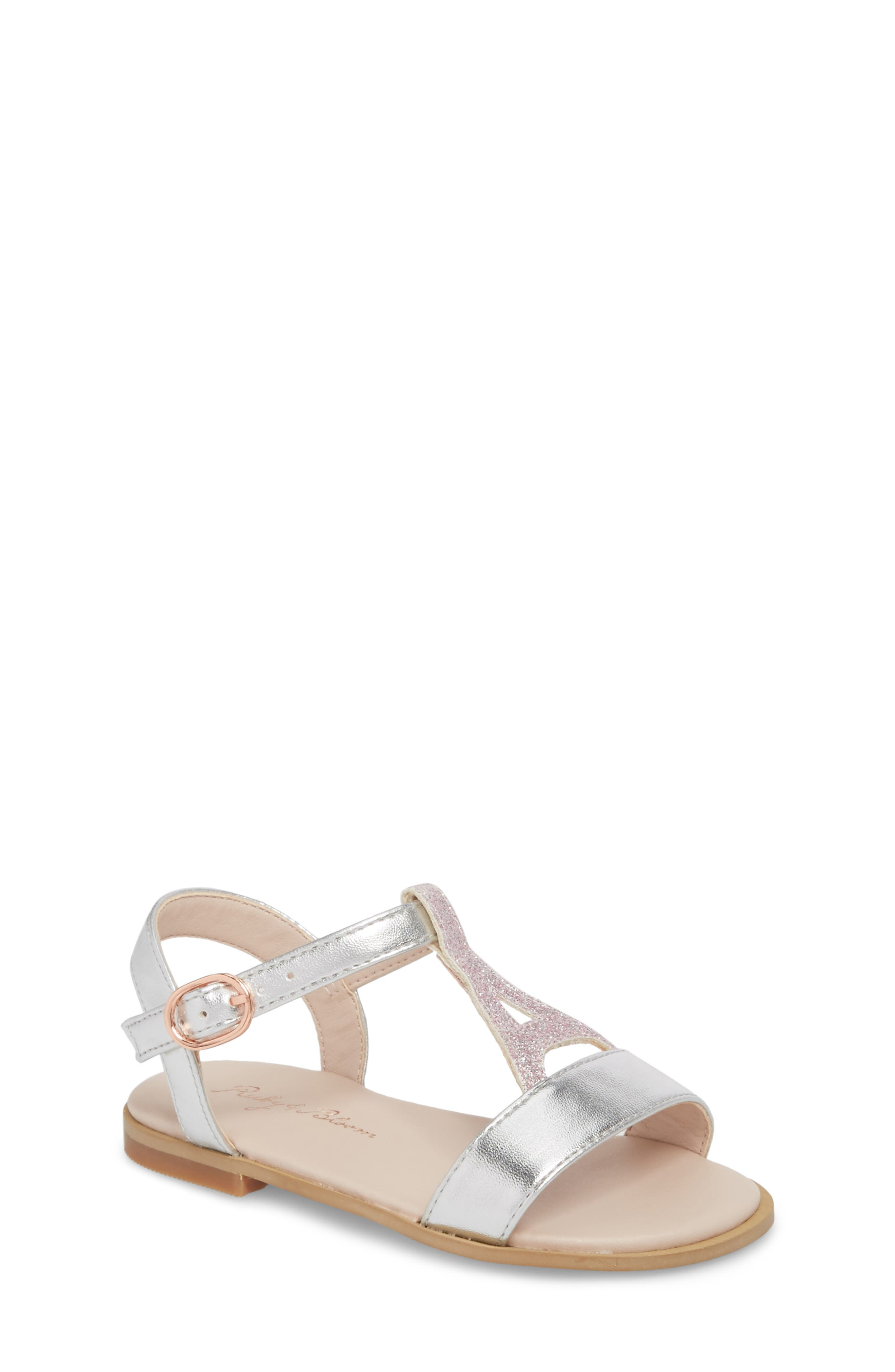 Tegan Glitter T-Strap Sandal,                         Main,                         color, Silver Faux Leather