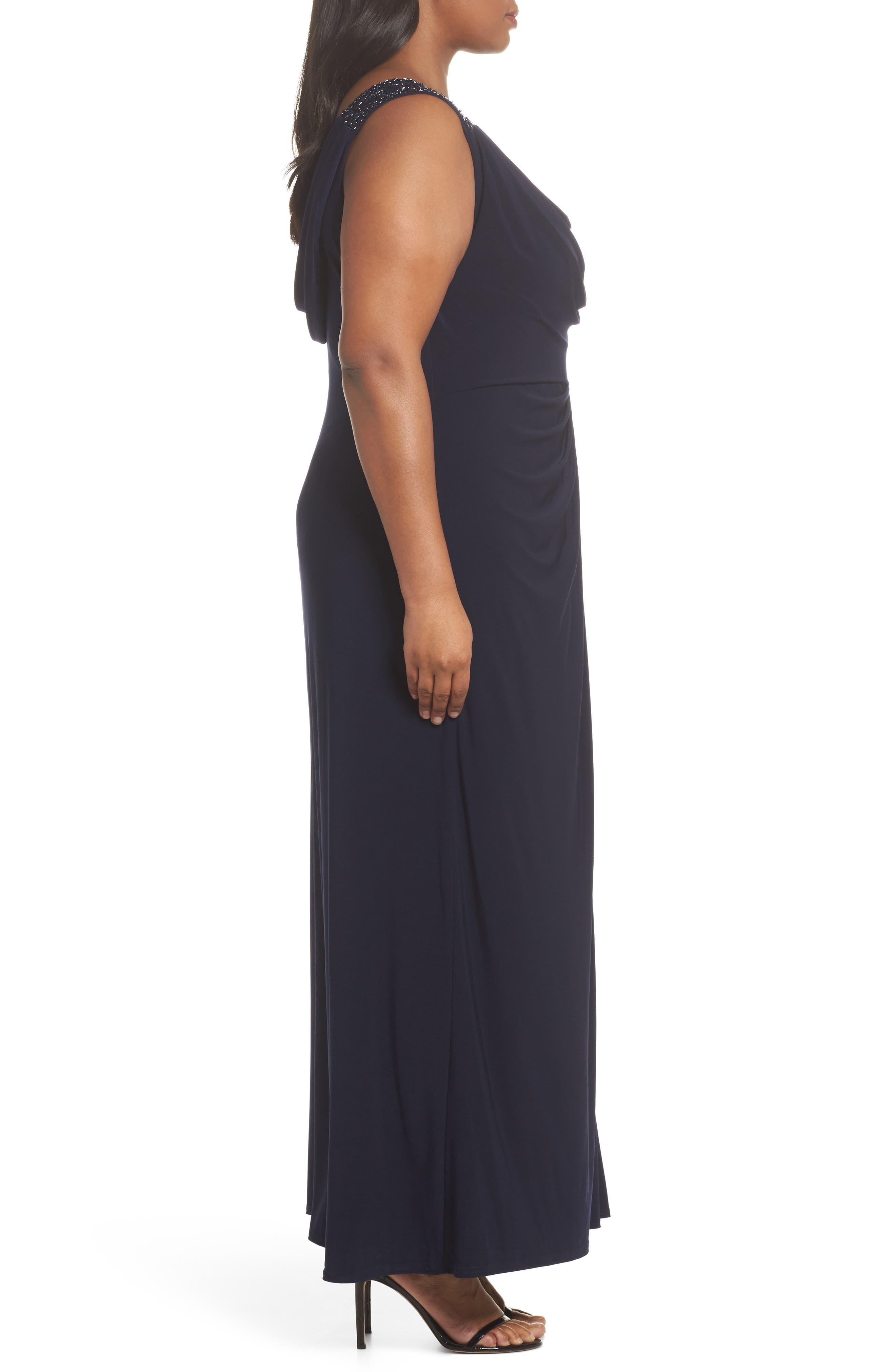 Cowl Neck A-Line Dress,                             Alternate thumbnail 3, color,                             Navy