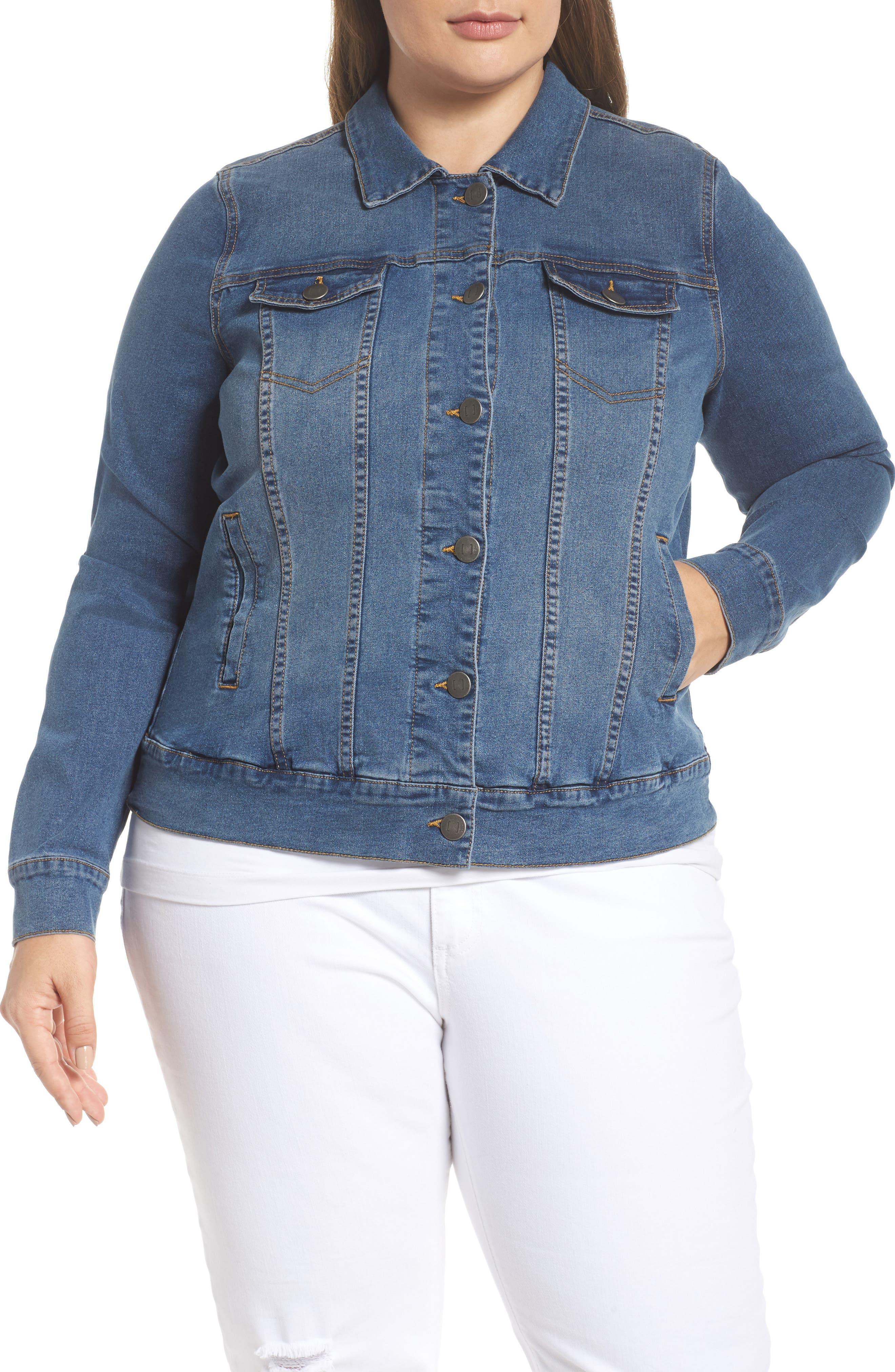Alternate Image 2  - JUNAROSE Katla Denim Jacket (Plus Size)
