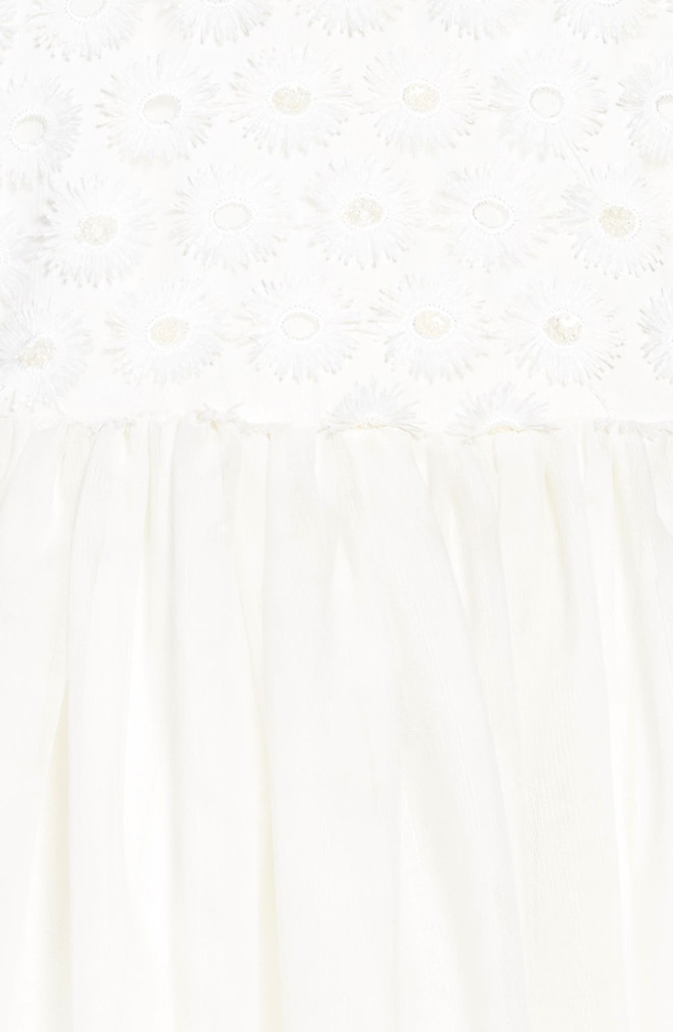 Embroidered Daisy Tulle Dress,                             Alternate thumbnail 3, color,                             White