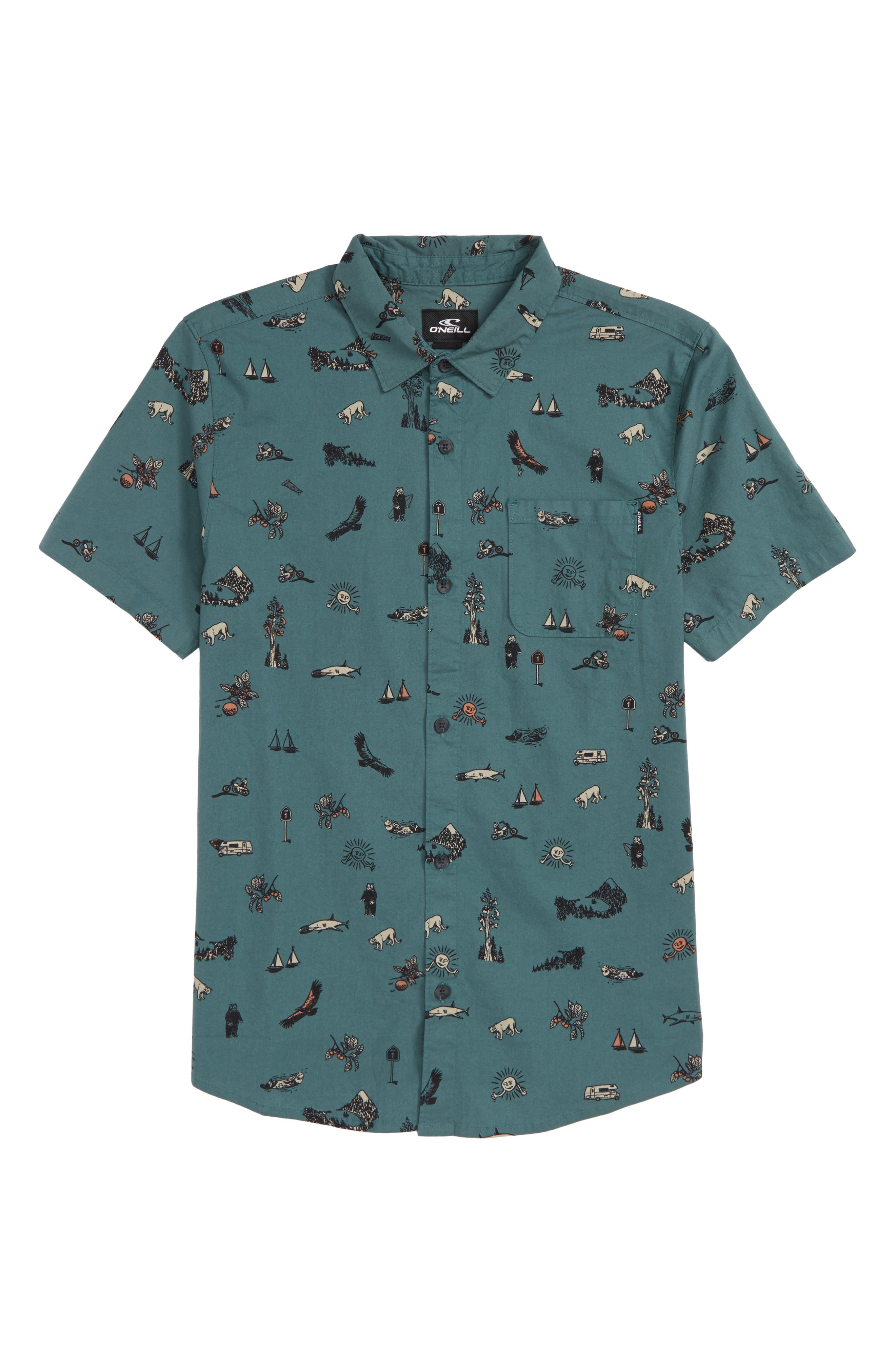 Squawker Woven Shirt,                             Main thumbnail 1, color,                             Pine