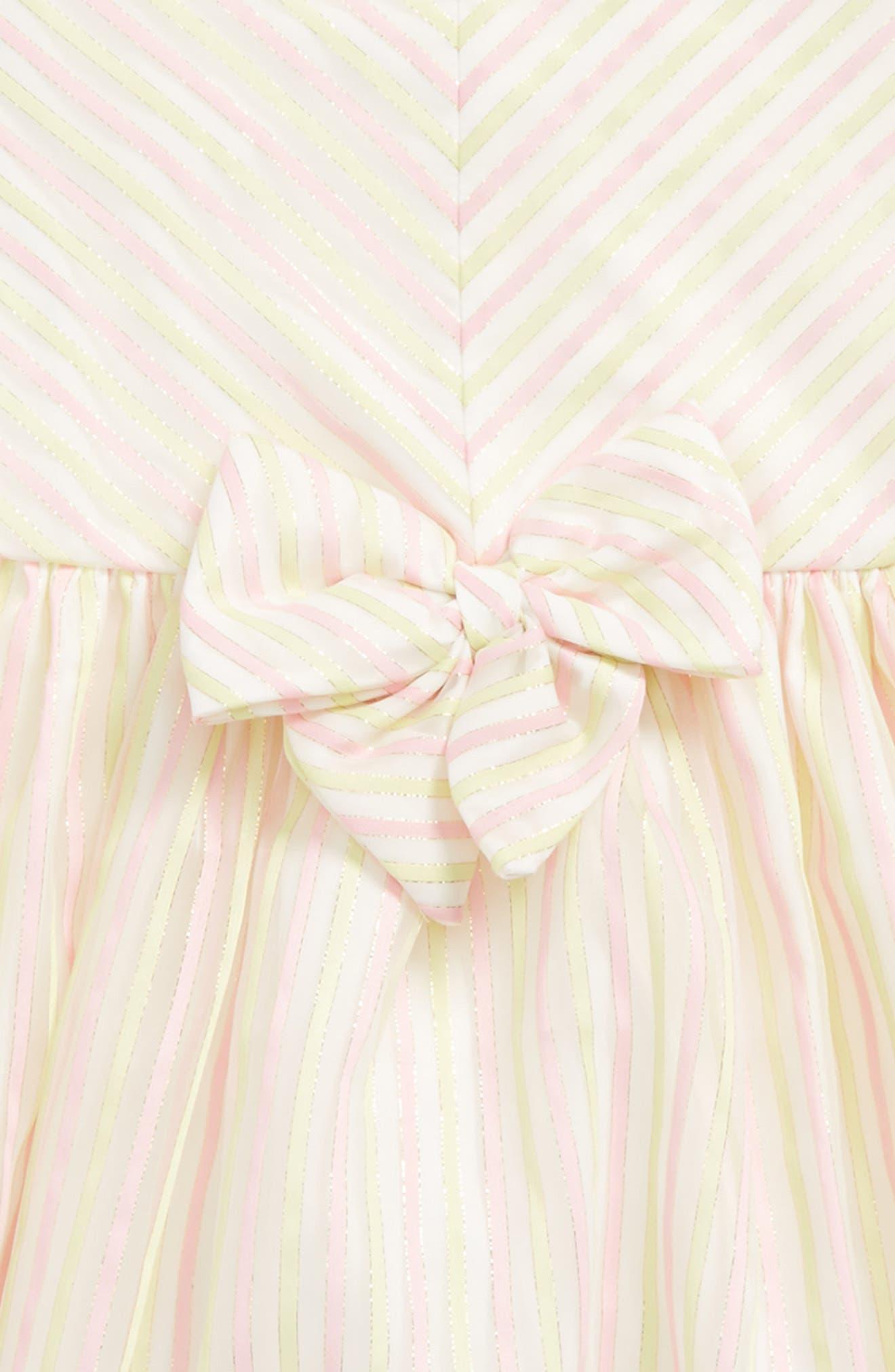 Metallic Stripe Dress,                             Alternate thumbnail 3, color,                             Pink Yellow