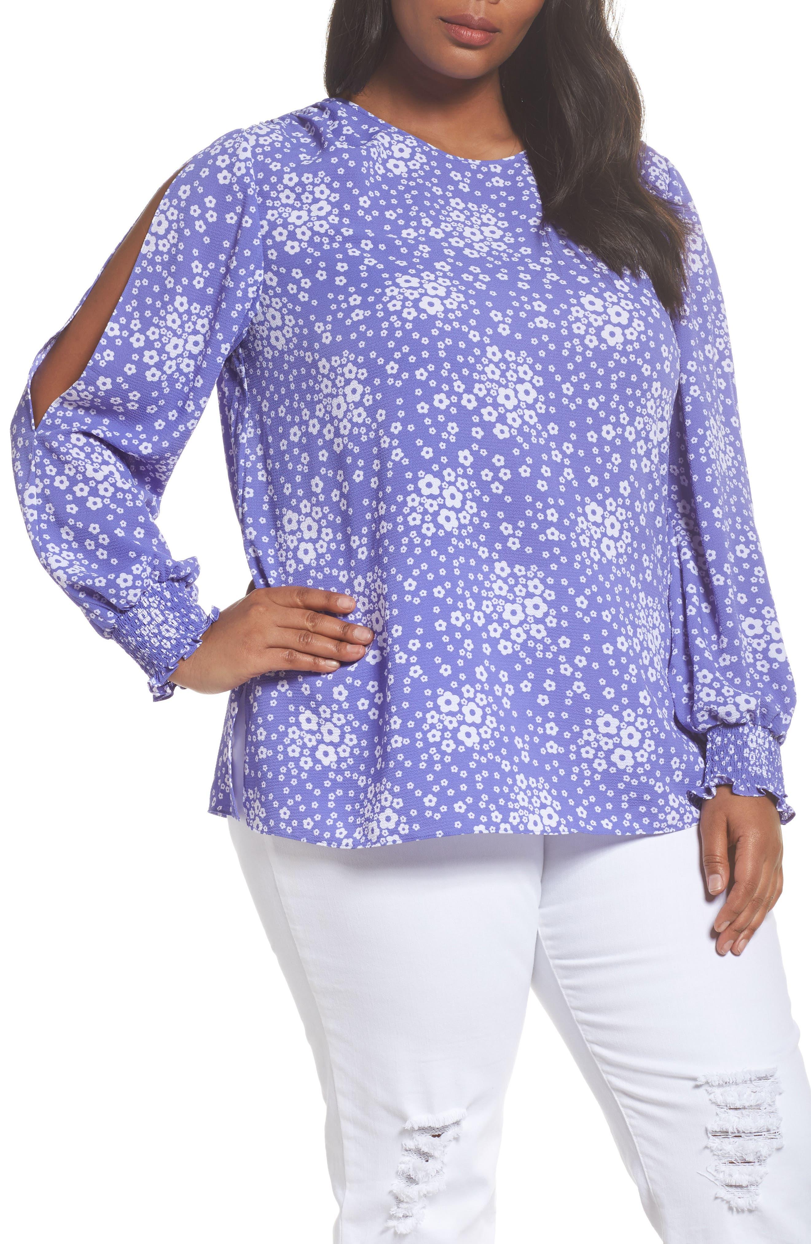 MICHAEL Michael Kors Mod Floral Slit Sleeve Top (Plus Size)