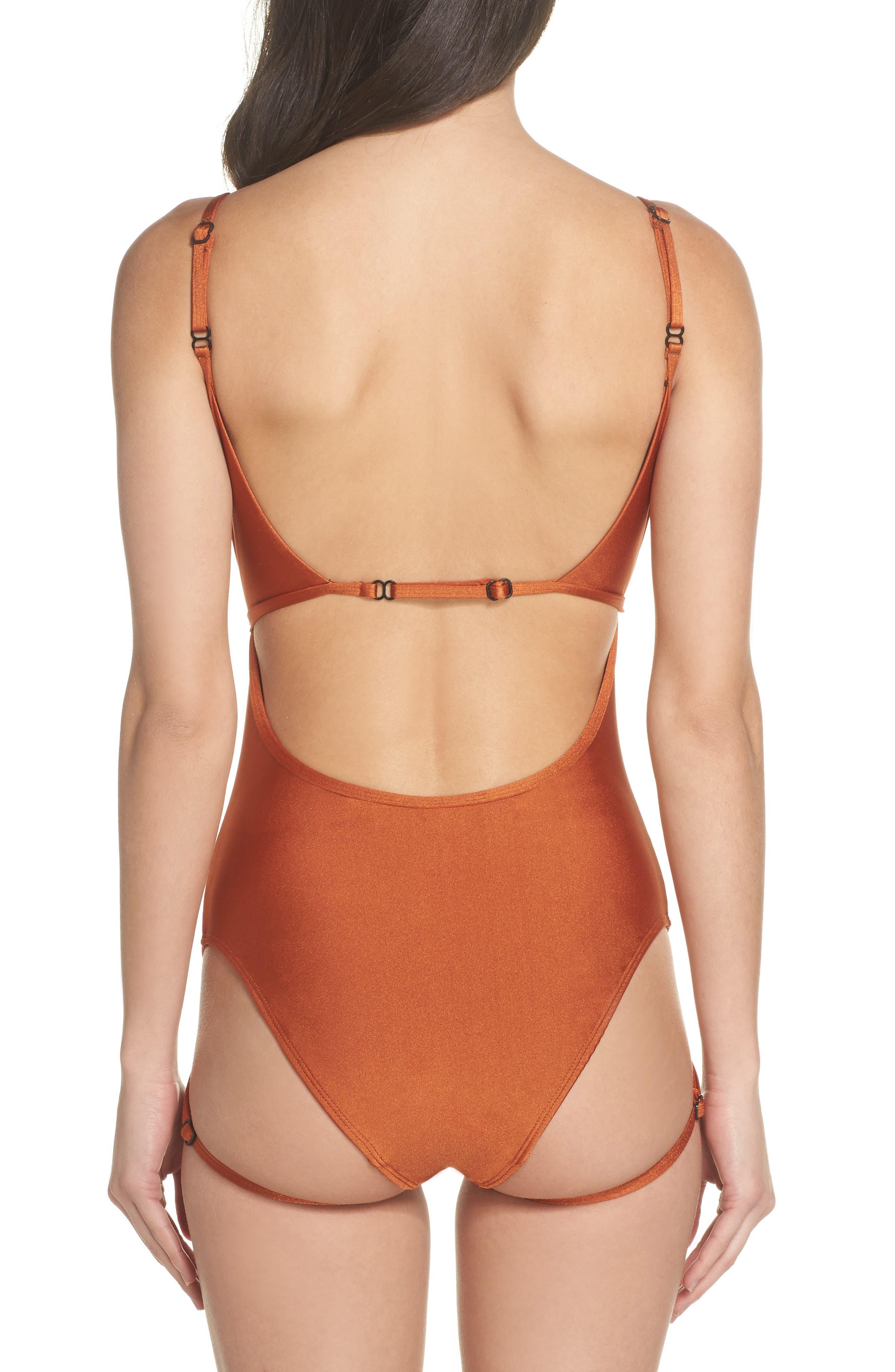 Strata One-Piece Swimsuit,                             Alternate thumbnail 2, color,                             Ginger Orange