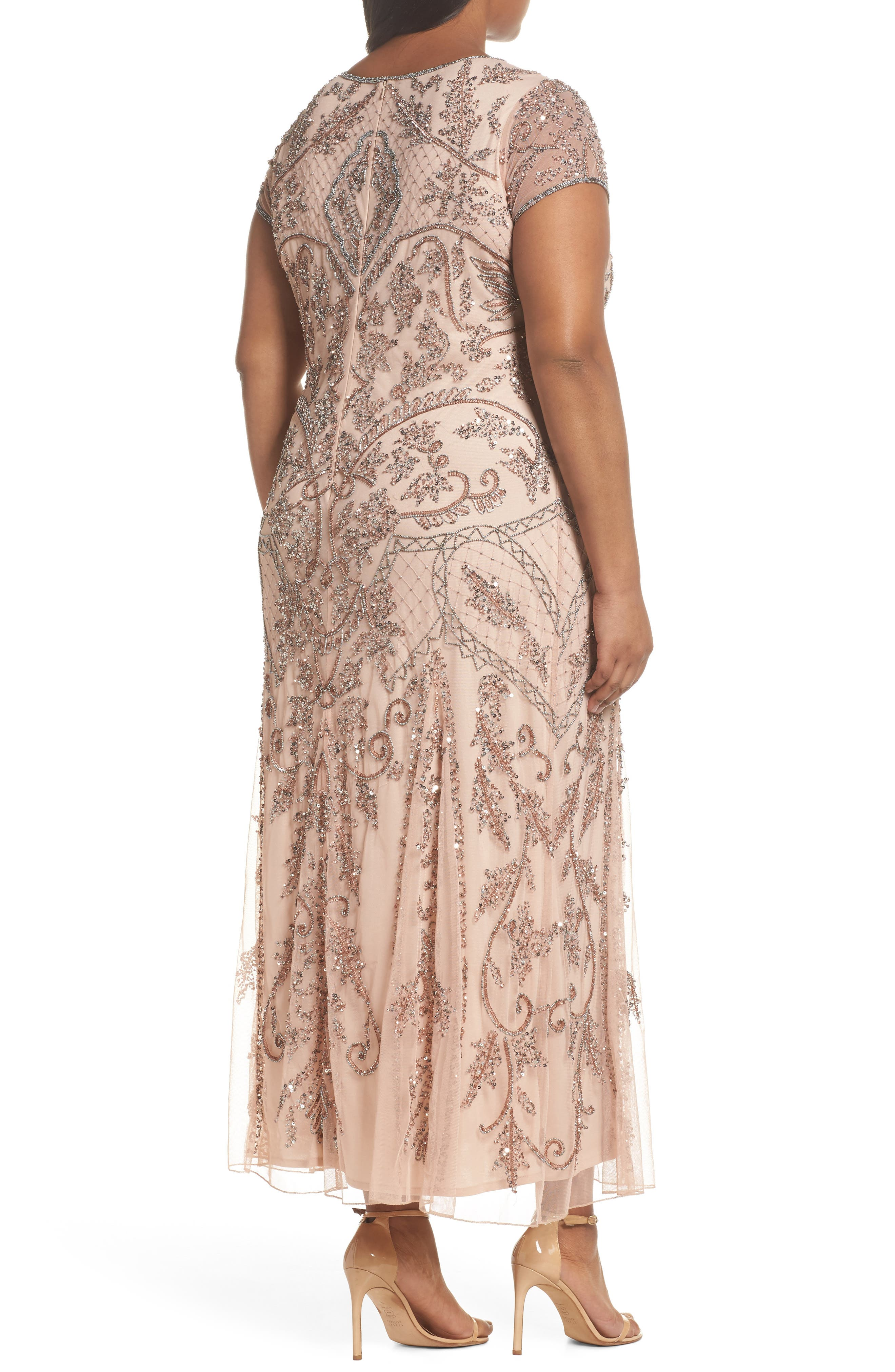 Beaded Short Sleeve Column Gown,                             Alternate thumbnail 2, color,                             Blush